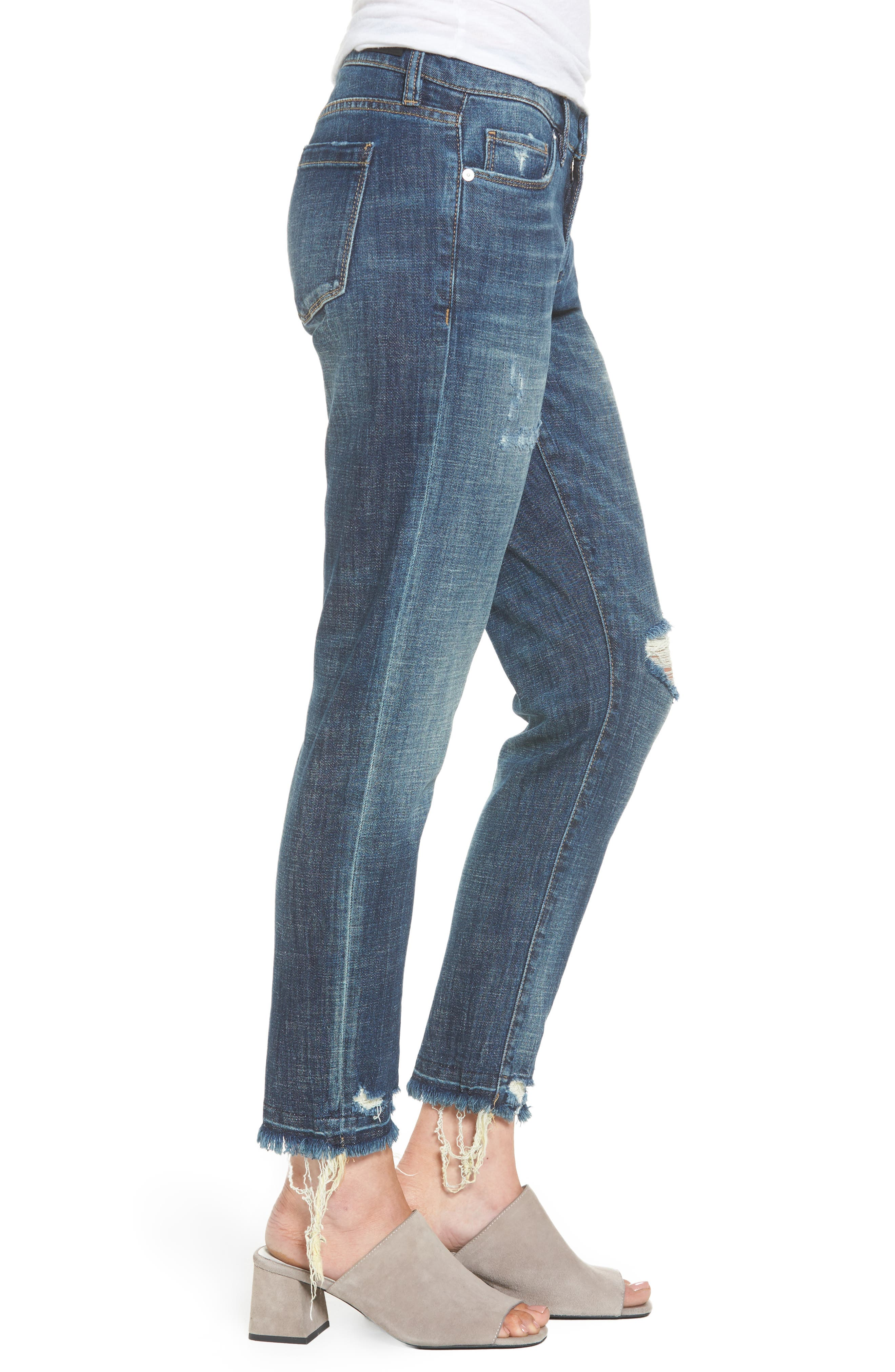 Alternate Image 3  - BLANKNYC Ripped Girlfriend Jeans (Let It Roll)