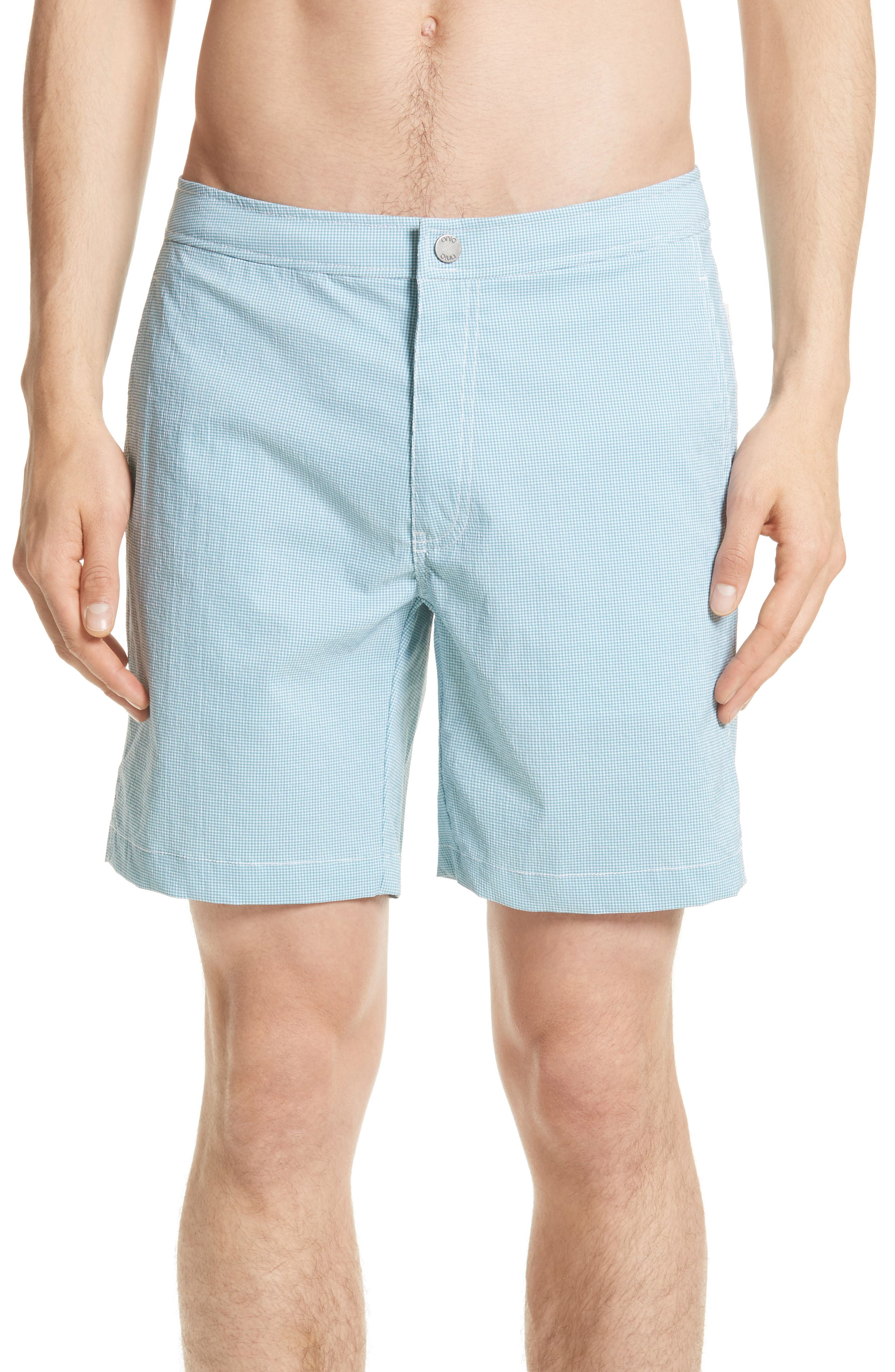 ONIA Calder Micro Gingham Swim Trunks