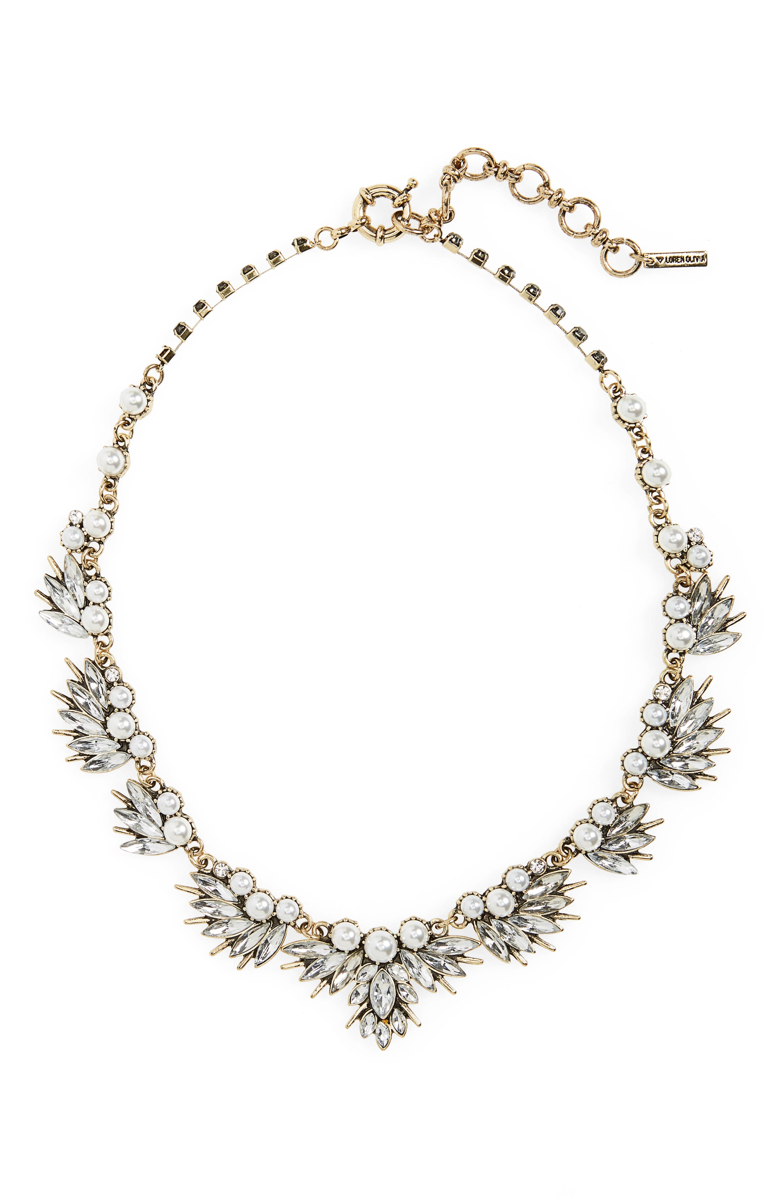 Loren Olivia Crystal & Imitation Pearl Necklace