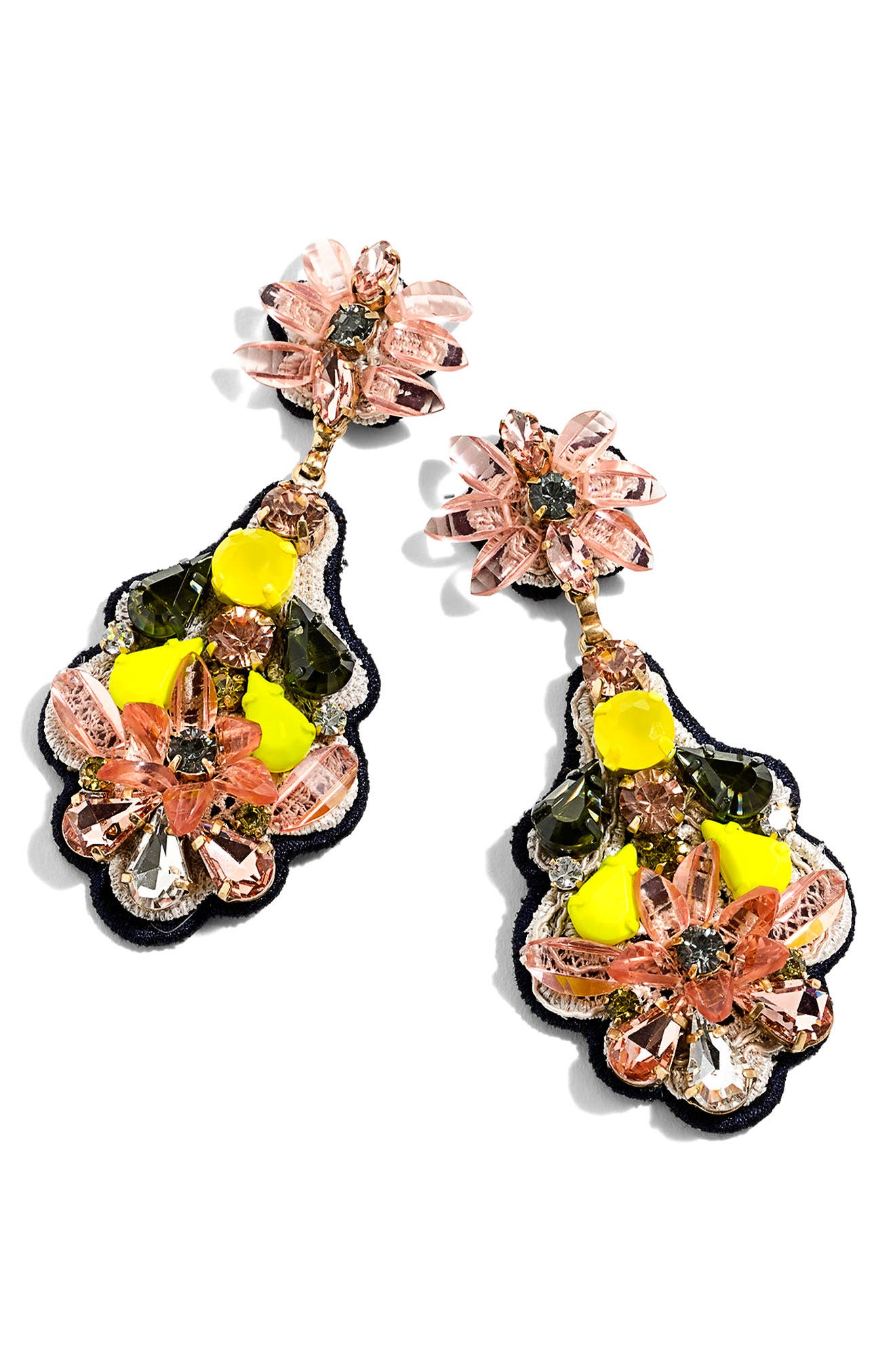 J.Crew Botanical Embroidered Drop Earrings