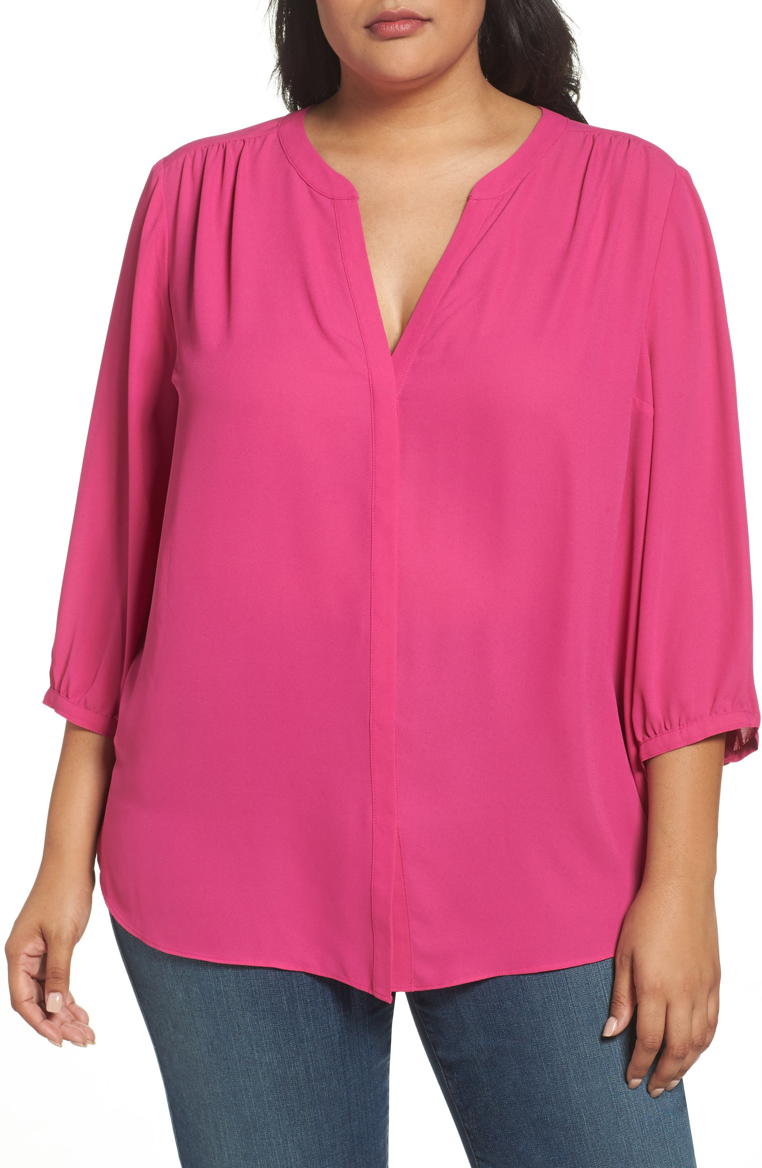 Alternate Image 1 Selected - NYDJ High/Low Blouse (Plus Size)
