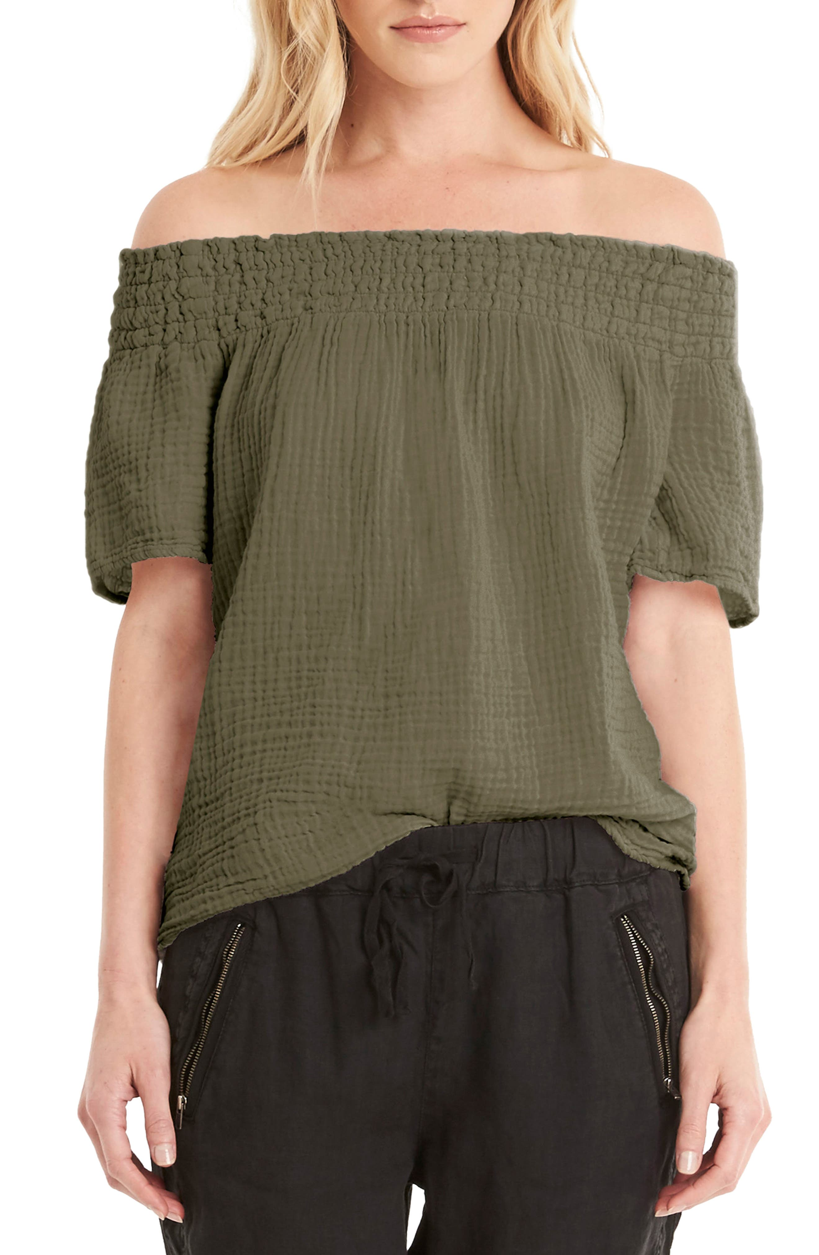 Michael Stars Smocked Cotton Off the Shoulder Top