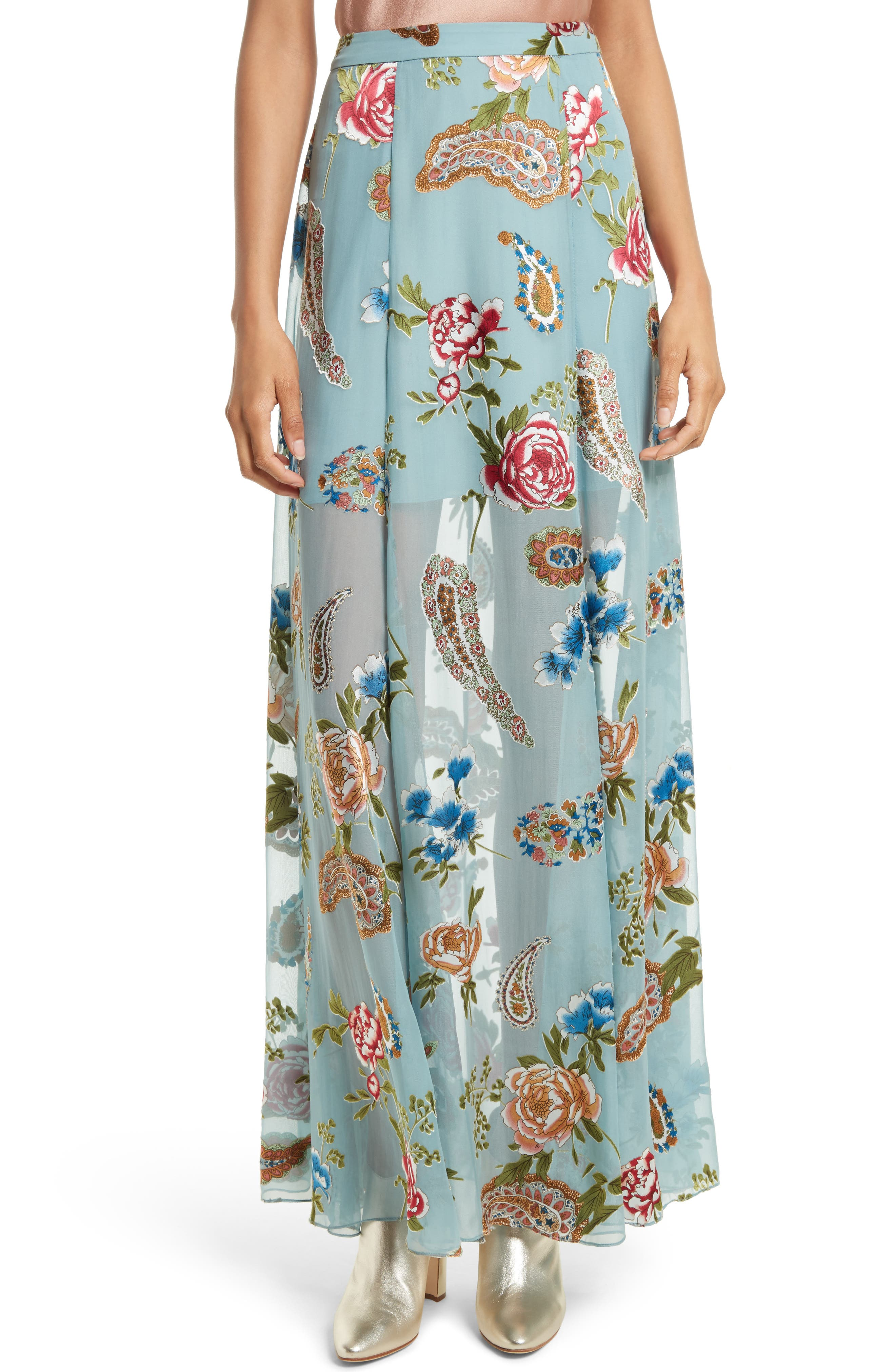 Alice + Olivia Athena Floral Silk Maxi Skirt