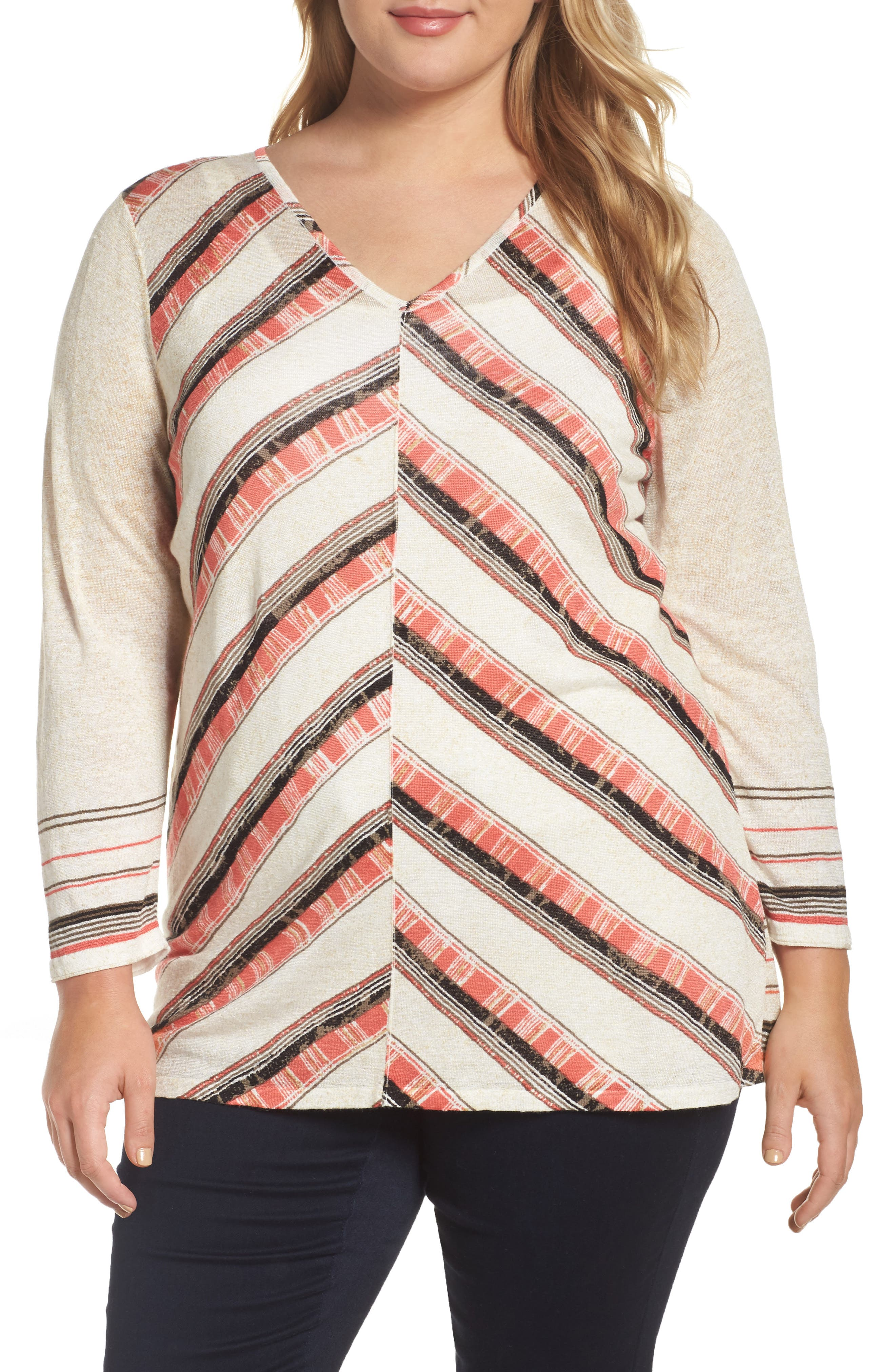 NIC + ZOE Firecracker Linen Blend Top (Plus Size)