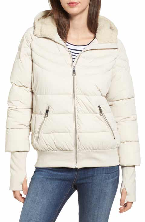 GUESS Oversize Hooded Puffer Jacket with Knit & Faux Shearling Trim - Down & Puffer Jackets For Women Nordstrom