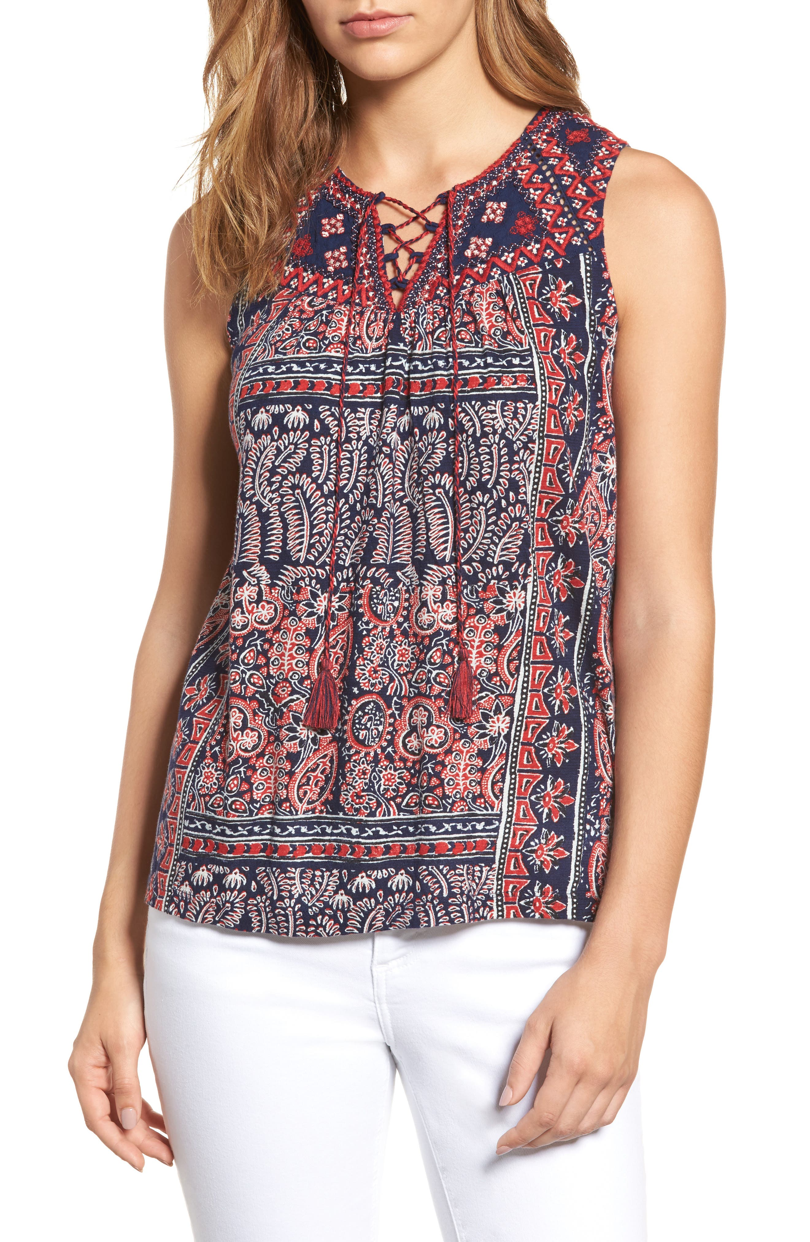 Lucky Brand Paisley Lace-Up Tank