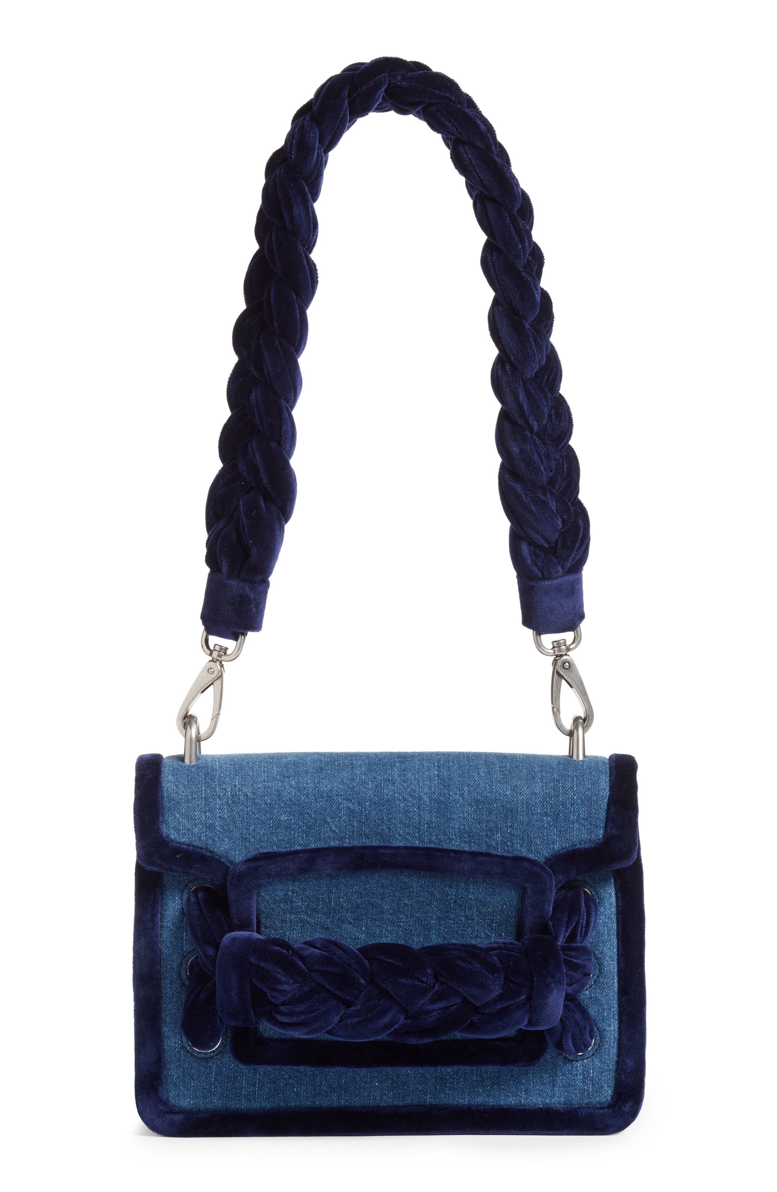 Miu Miu Treccia Denim & Velvet Shoulder Bag