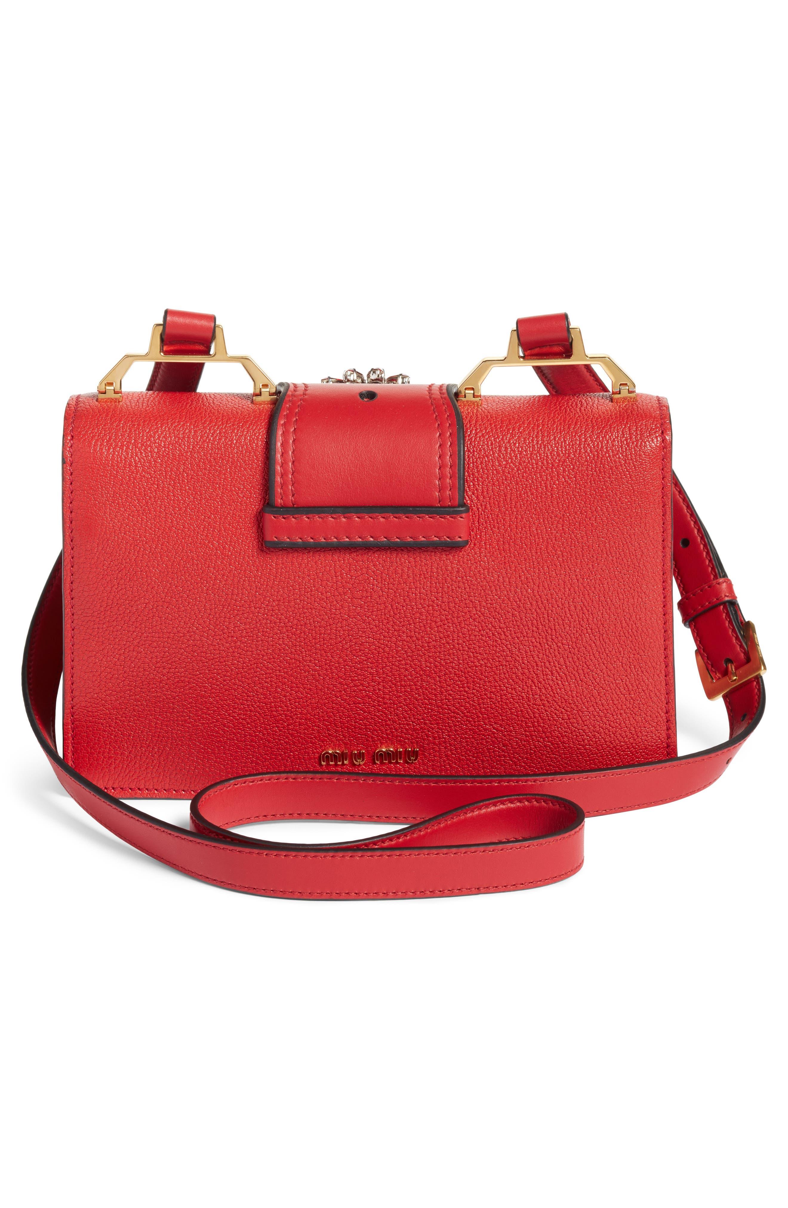 Alternate Image 2  - Miu Miu Madras Crystal Embellished Leather Shoulder Bag