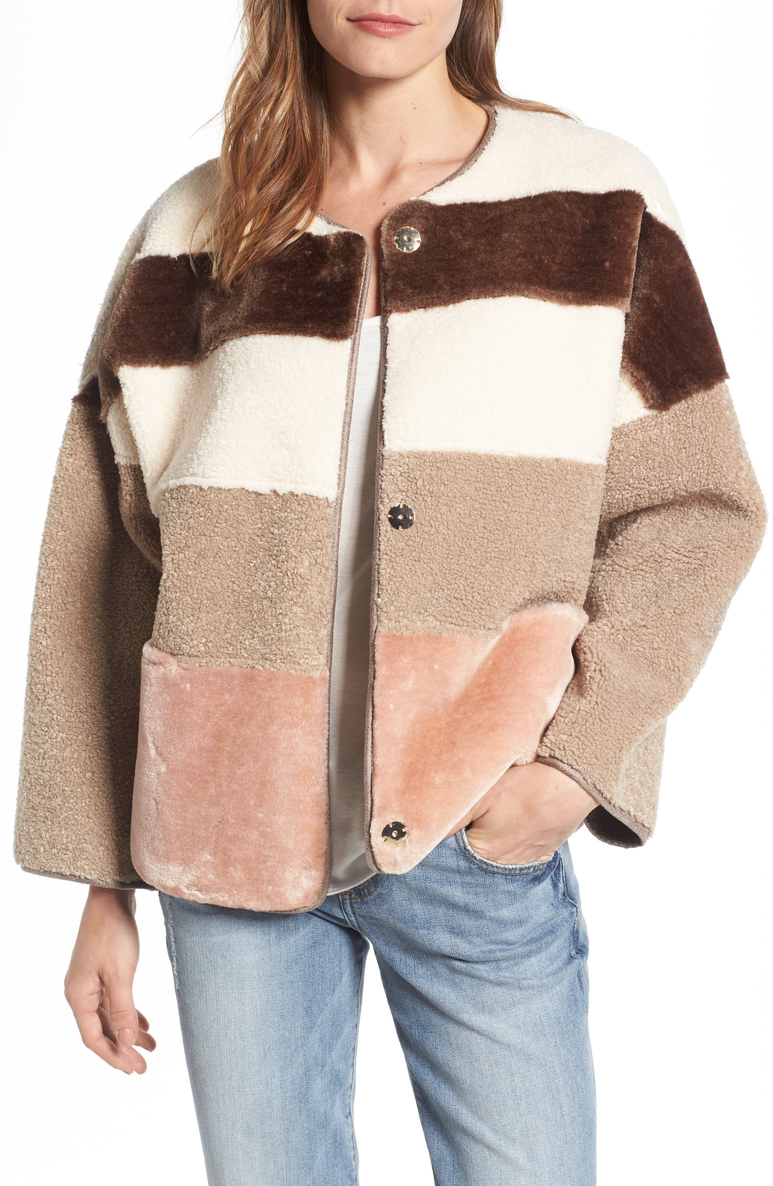 Eliza J Faux Shearling & Faux Fur Colorblock Jacket