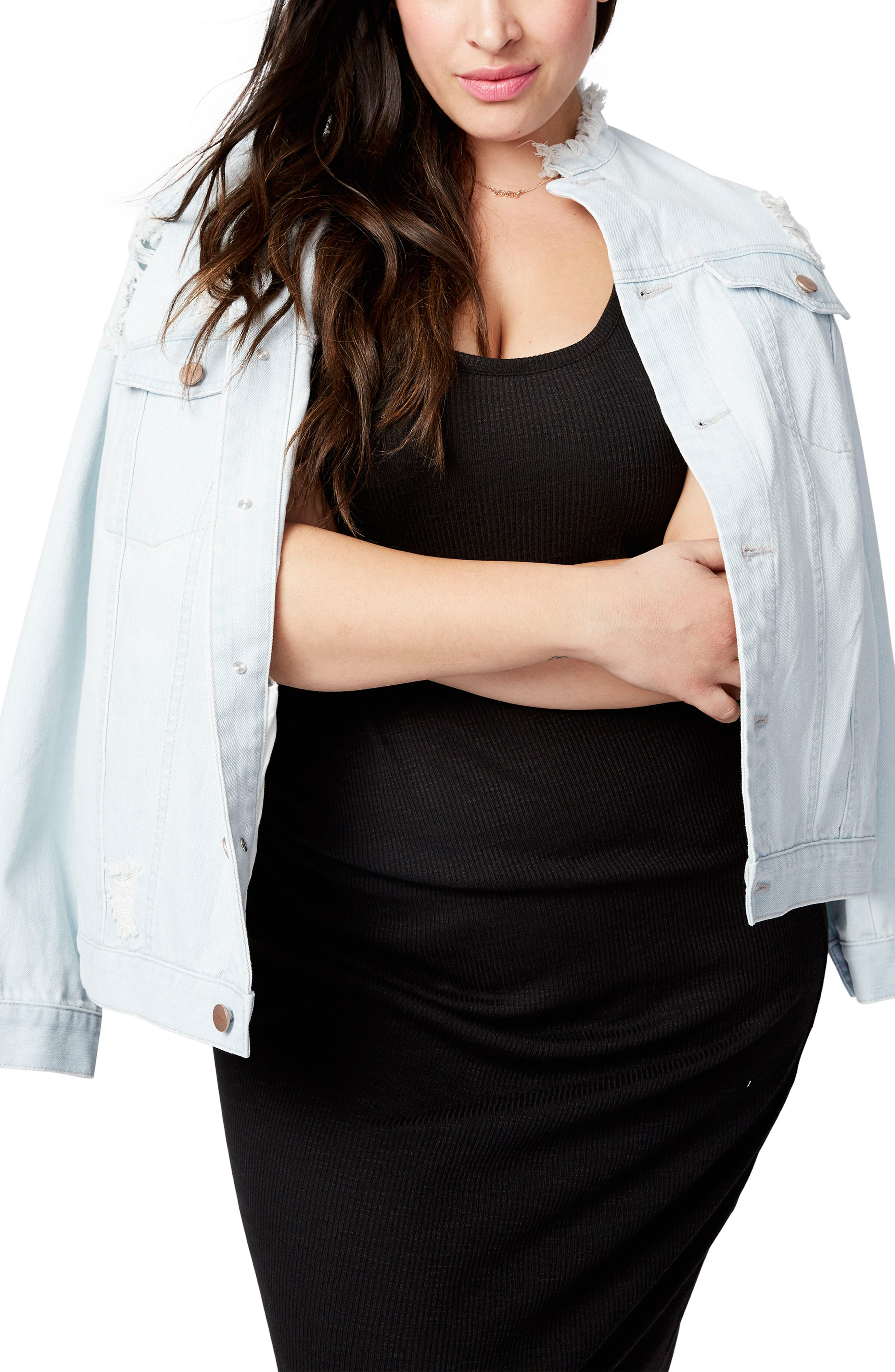Rachel Roy Destructed Denim Jacket (Plus Size)