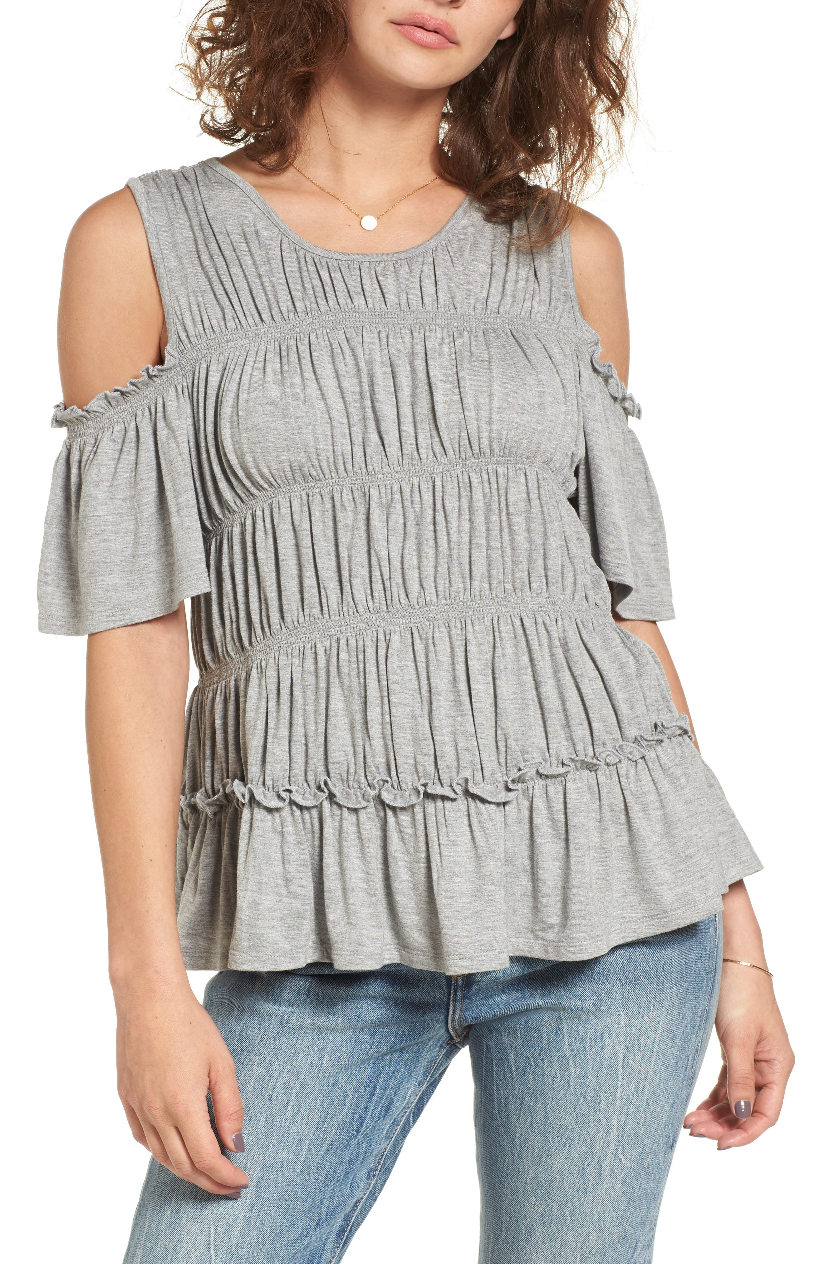 Love, Fire Ruched Cold Shoulder Tee