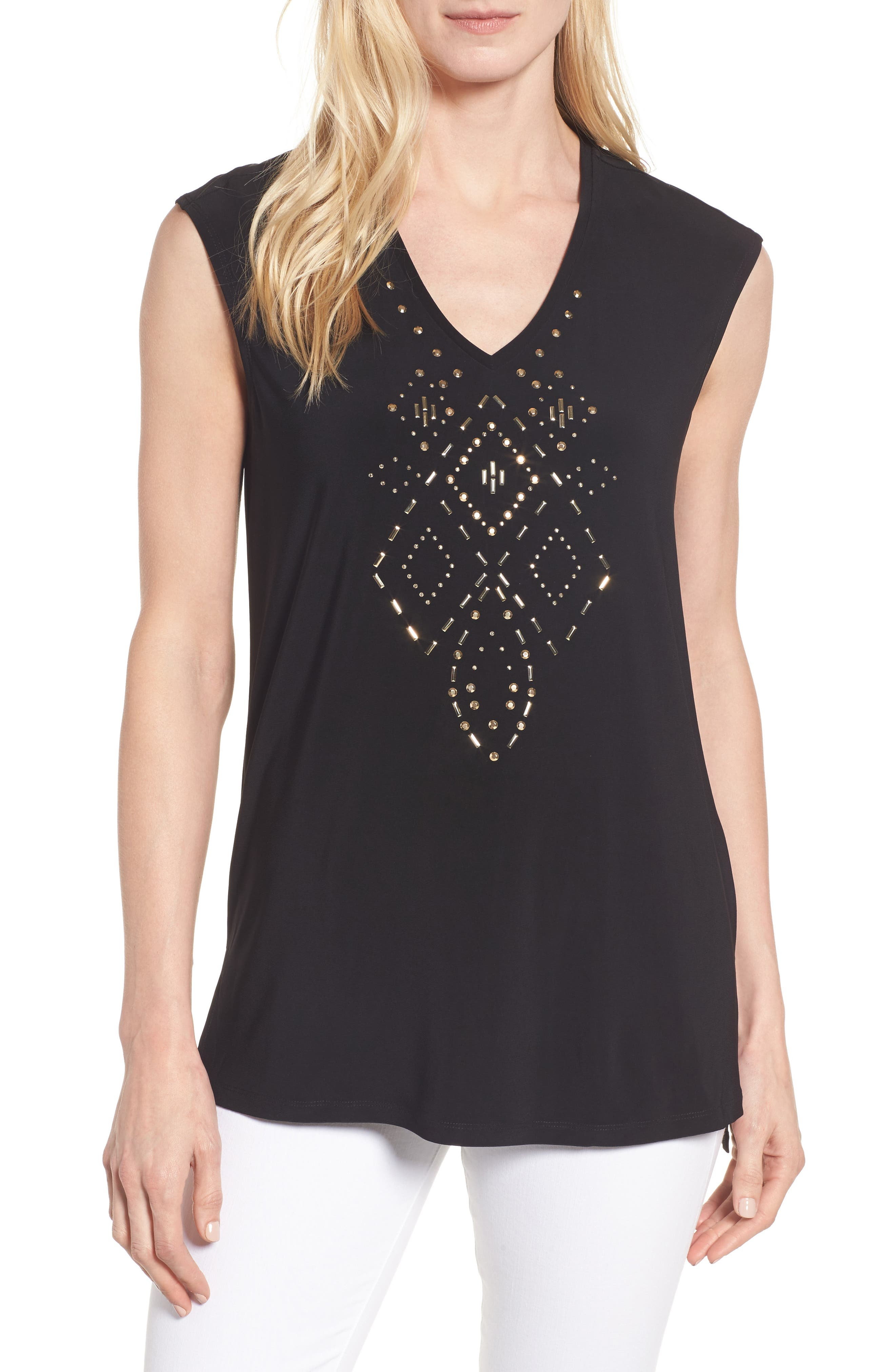 Chaus Embellished A-Line Tee