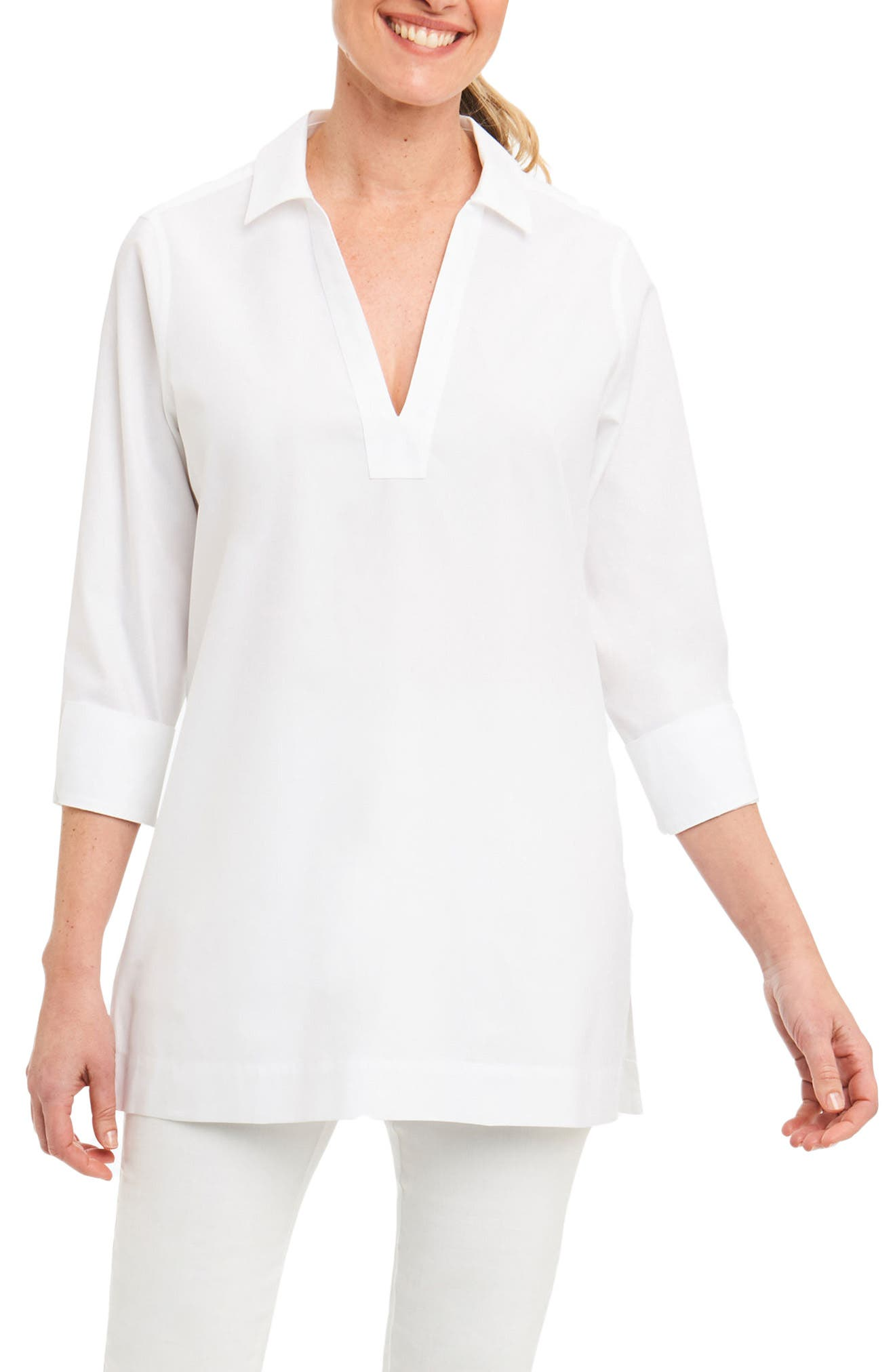 Foxcroft Nora Non-Iron Cotton Tunic (Regular & Petite)