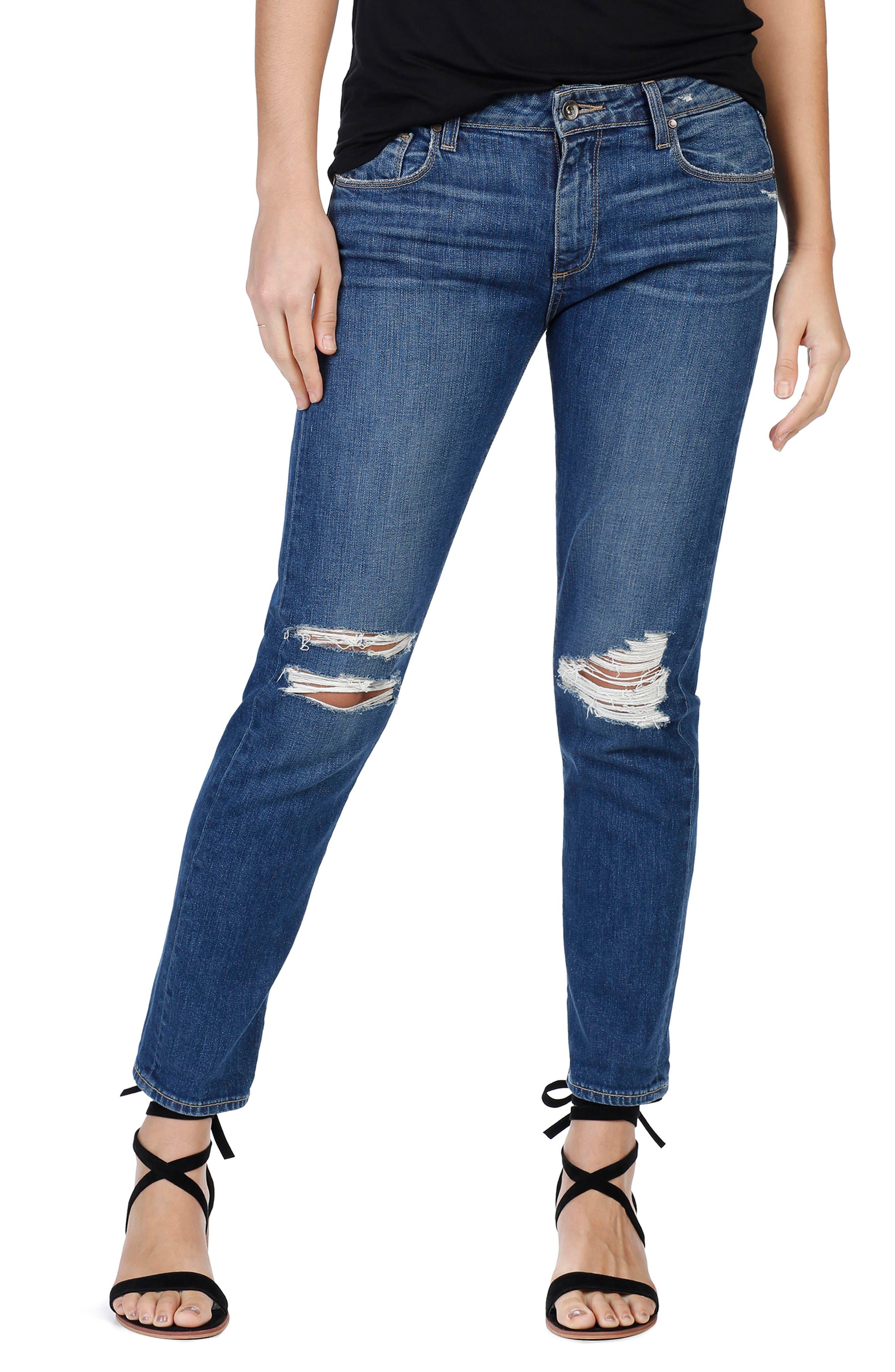 PAIGE Brigitte Crop Boyfriend Jeans (Emmett Destructed)