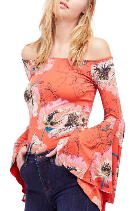 Birds of Paradise Print Off the Shoulder Top