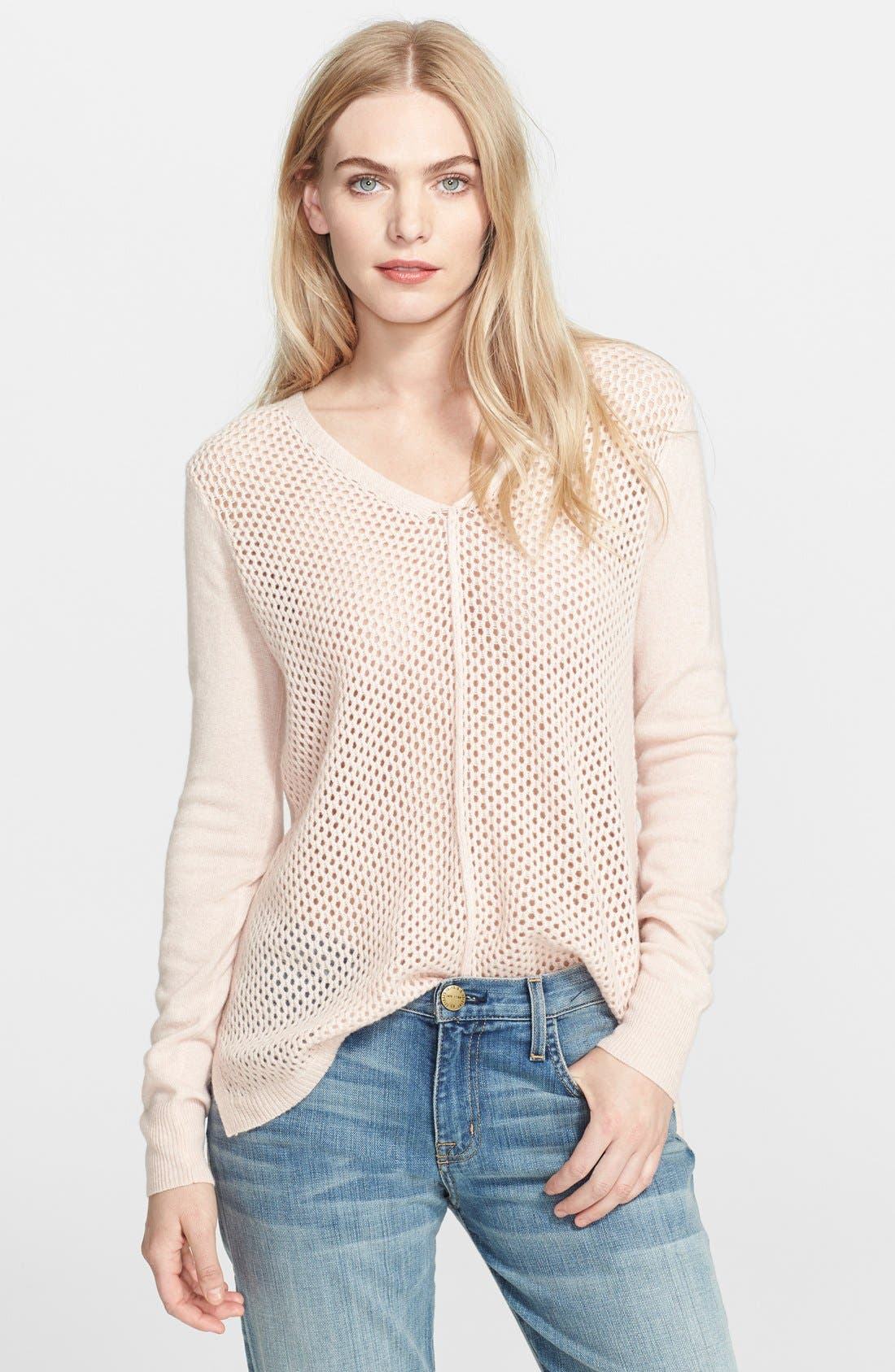Alternate Image 1 Selected - Rebecca Taylor Mesh Knit Sweater
