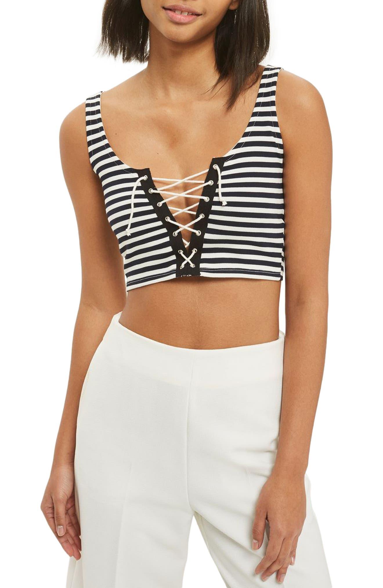 Topshop Lace-Up Stripe Bralet (Petite)