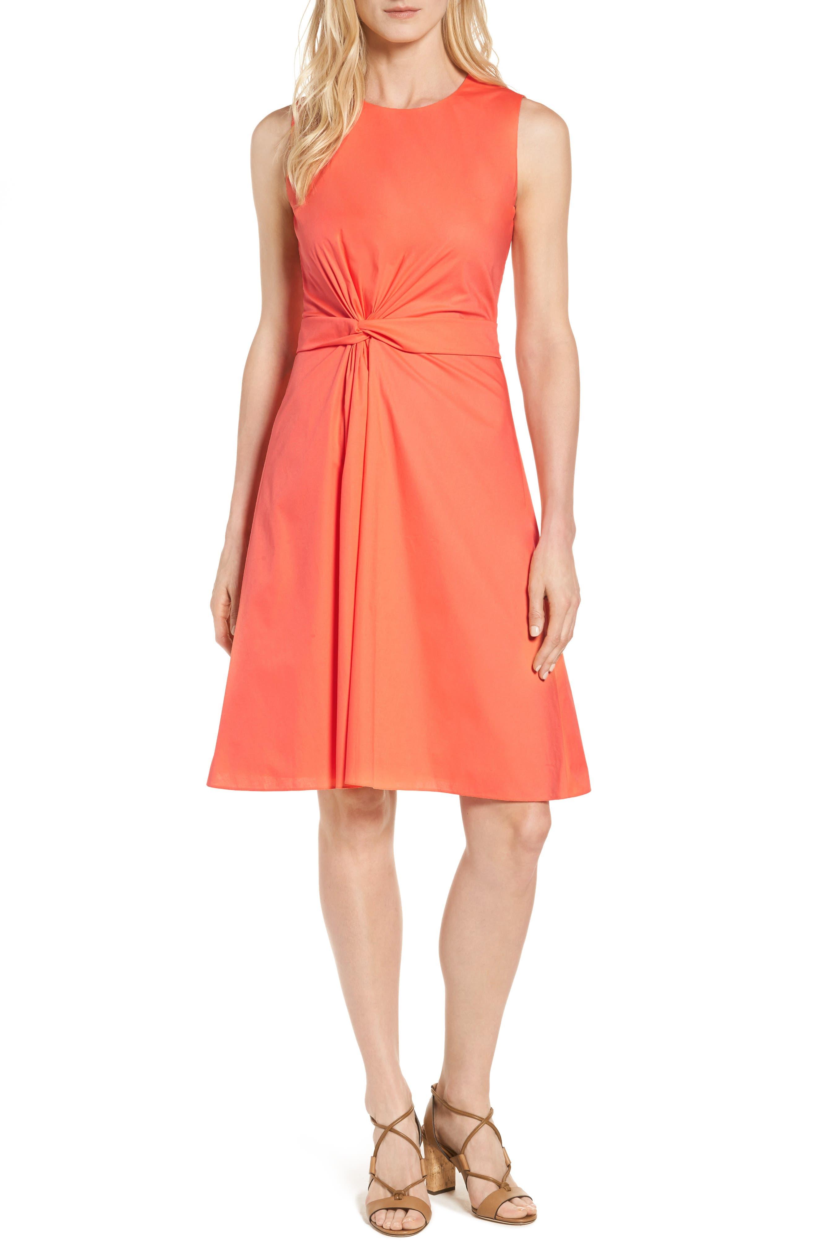 BOSS Digiana Front Twist Poplin Fit & Flare Dress