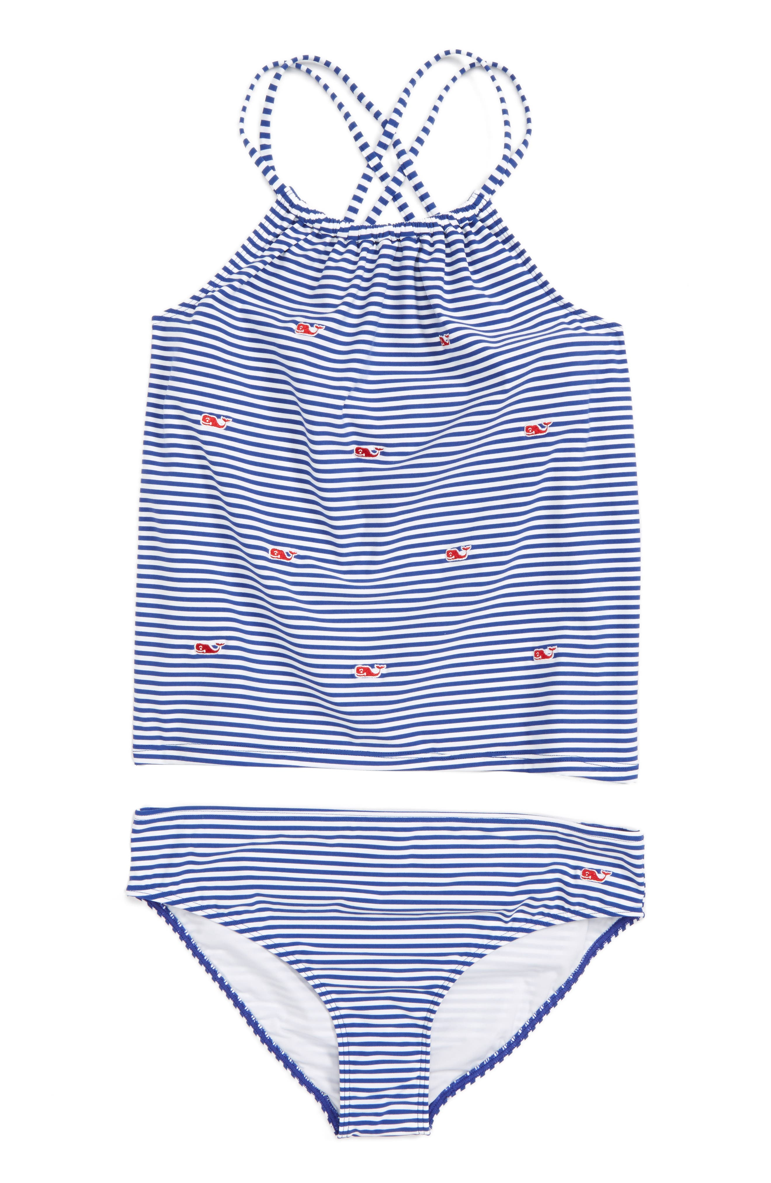 Vineyard Vines Embroidered Whale Stripe Two-Piece Swimsuit (Little Girls & Big Girls)