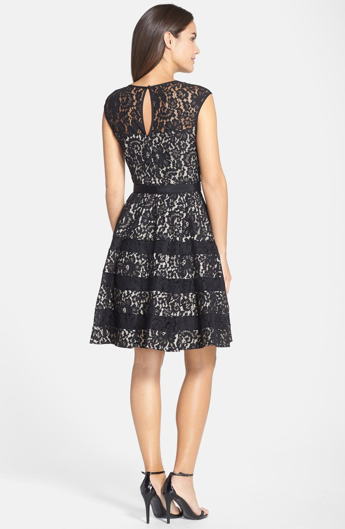 Alternate Image 2  - Eliza J Belted Cap Sleeve Lace Fit & Flare Dress (Regular & Petite)