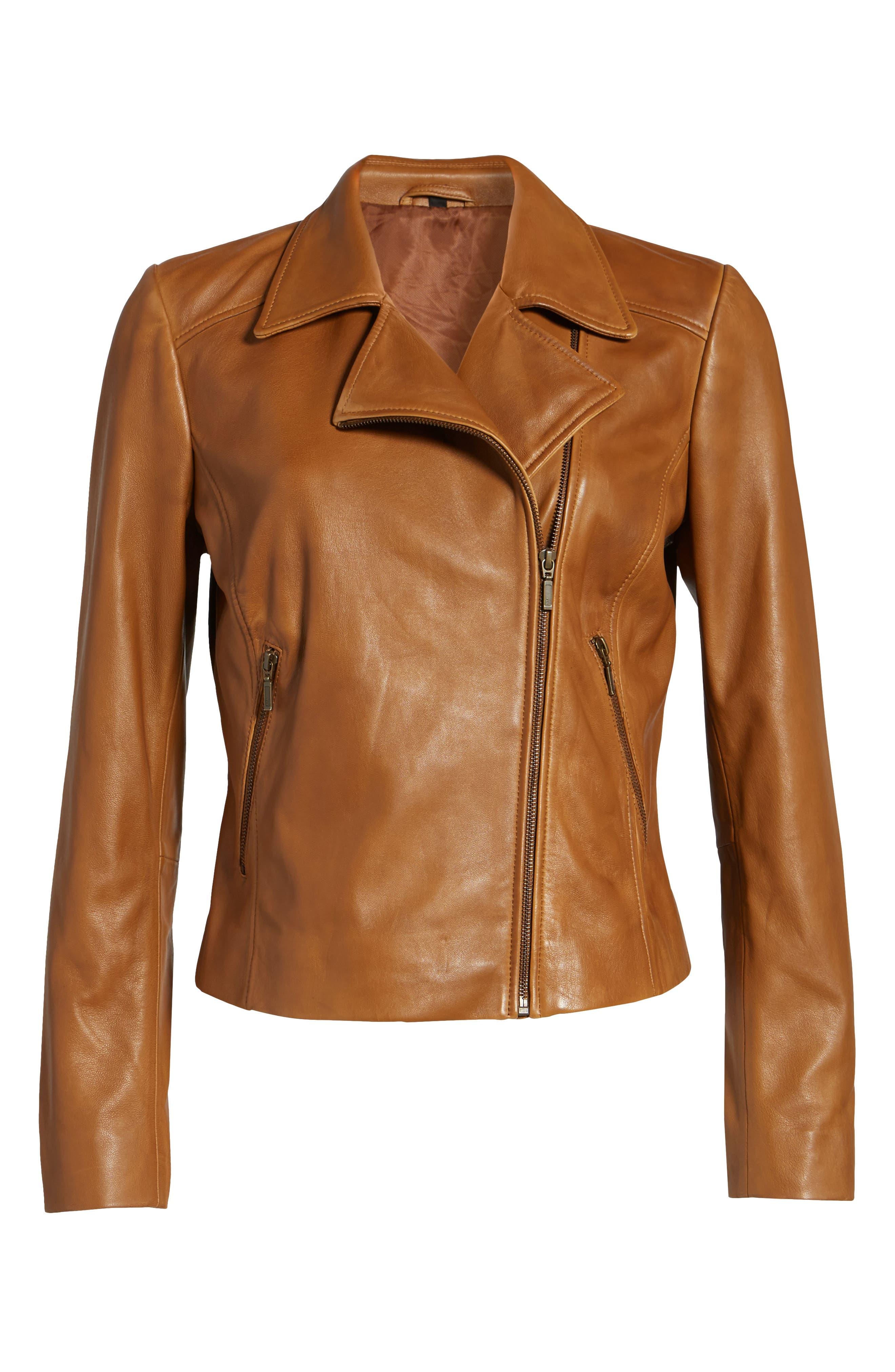 Alternate Image 6  - Halogen® Leather Moto Jacket (Regular & Petite)