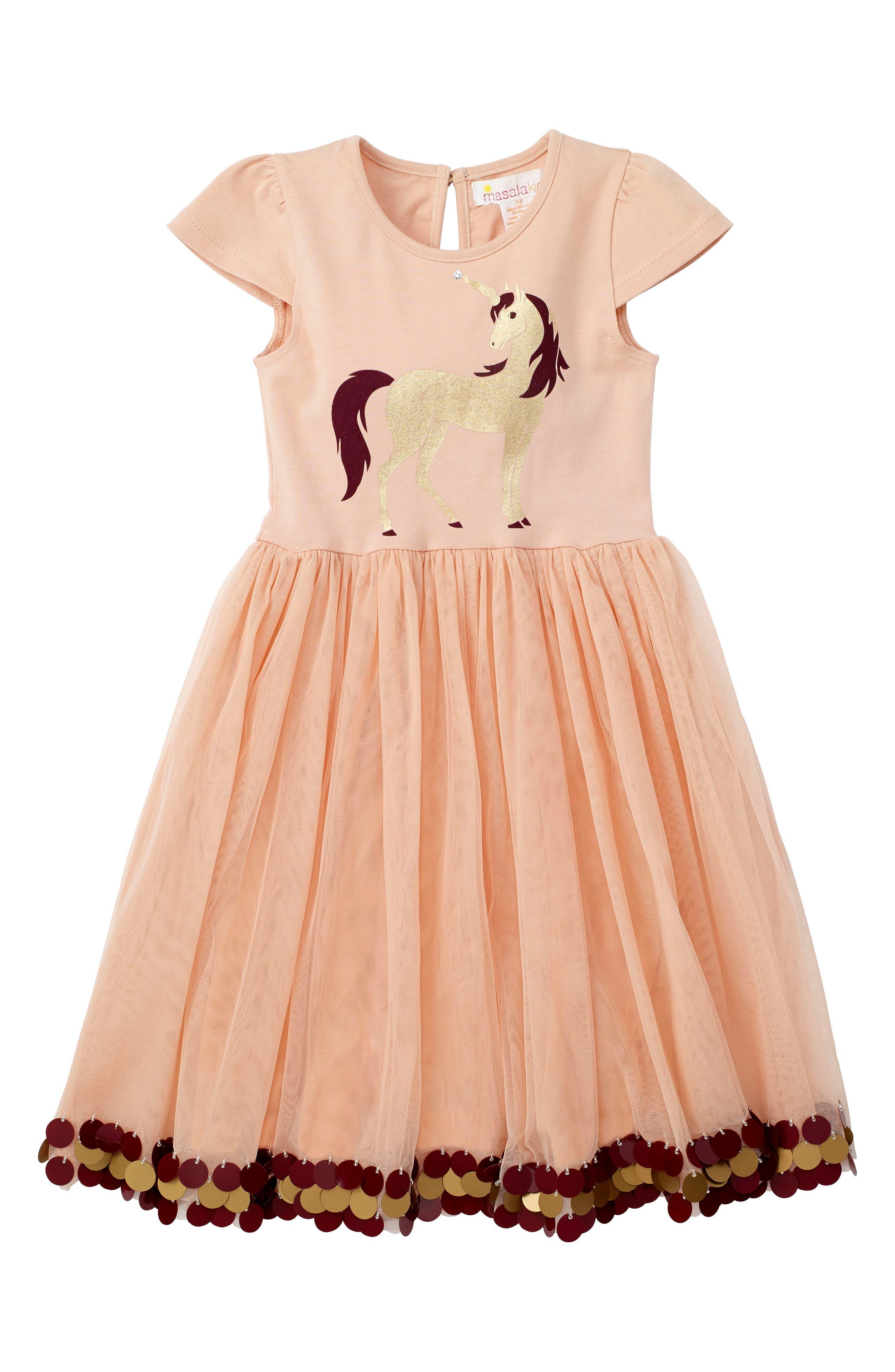 Masalababy Golden Unicorn Dress (Toddler Girls, Little Girls & Big Girls)