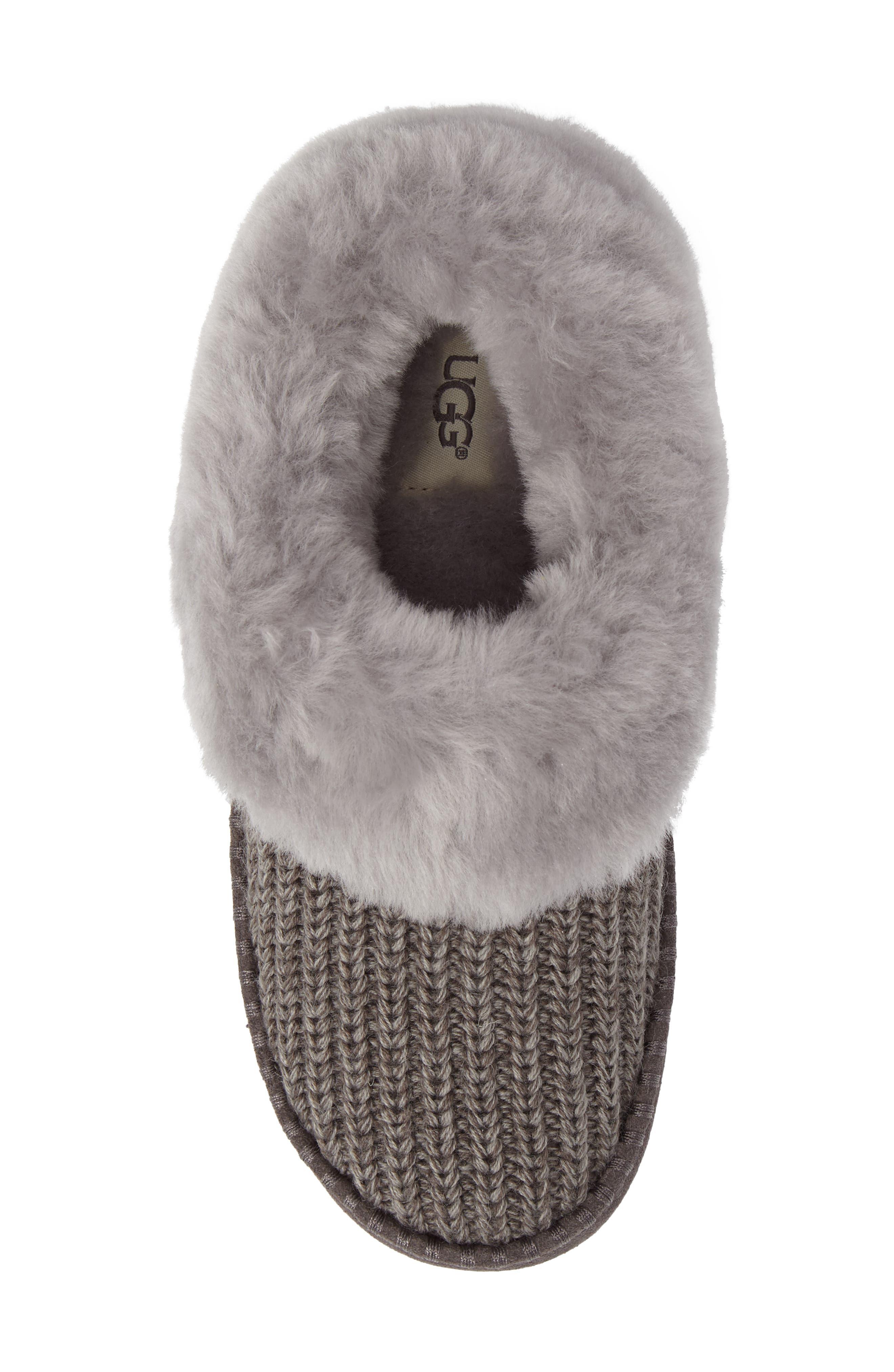Alternate Image 5  - UGG® Wrin Rib-Knit & Genuine Shearling Slipper (Women)