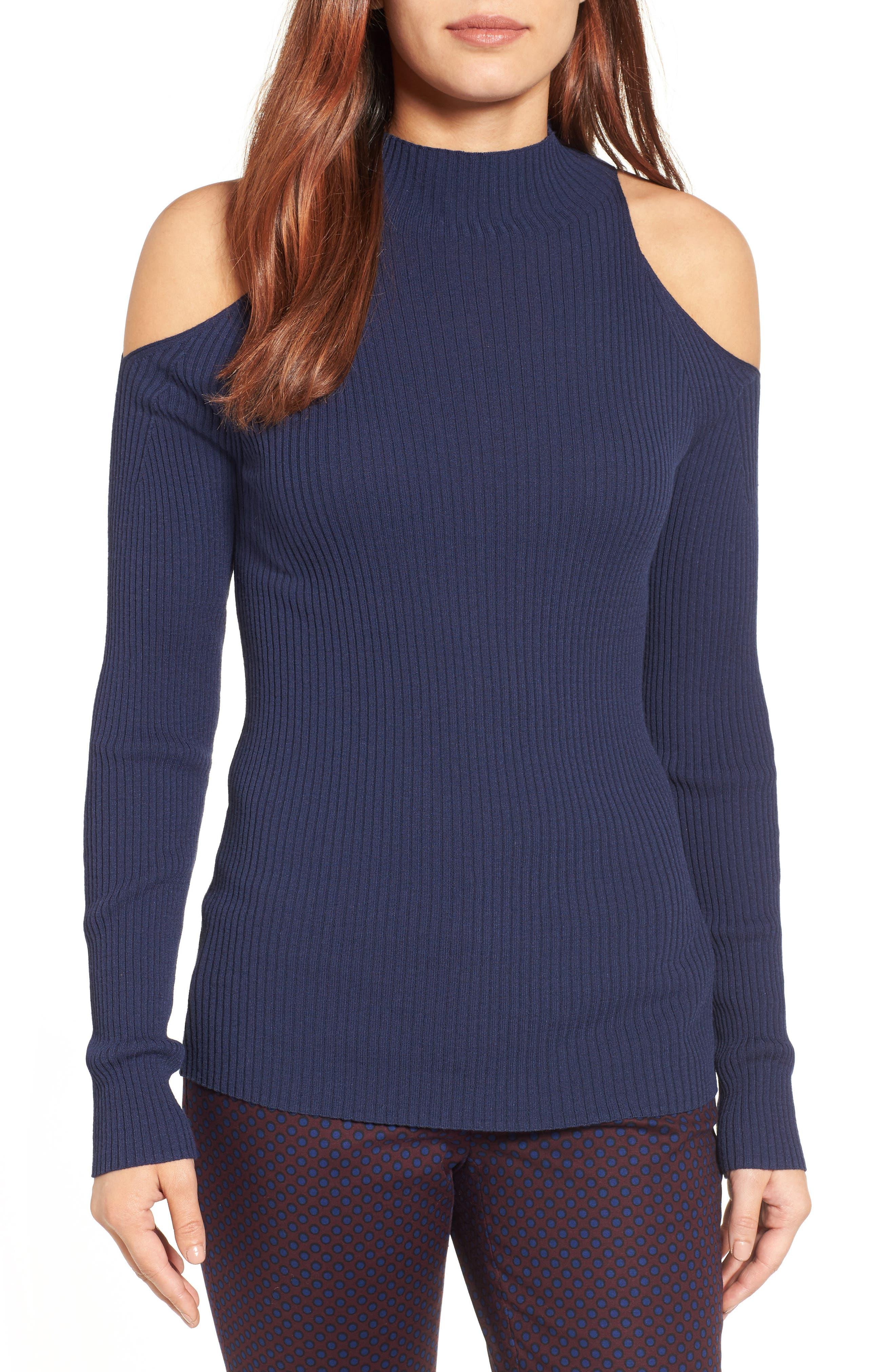 Halogen® Rib Knit Cold Shoulder Sweater (Regular & Petite)