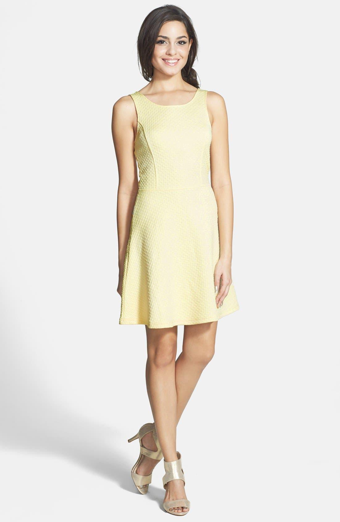 Alternate Image 1 Selected - Frenchi® 'Spring Dot' Cutout Back Skater Dress (Juniors)