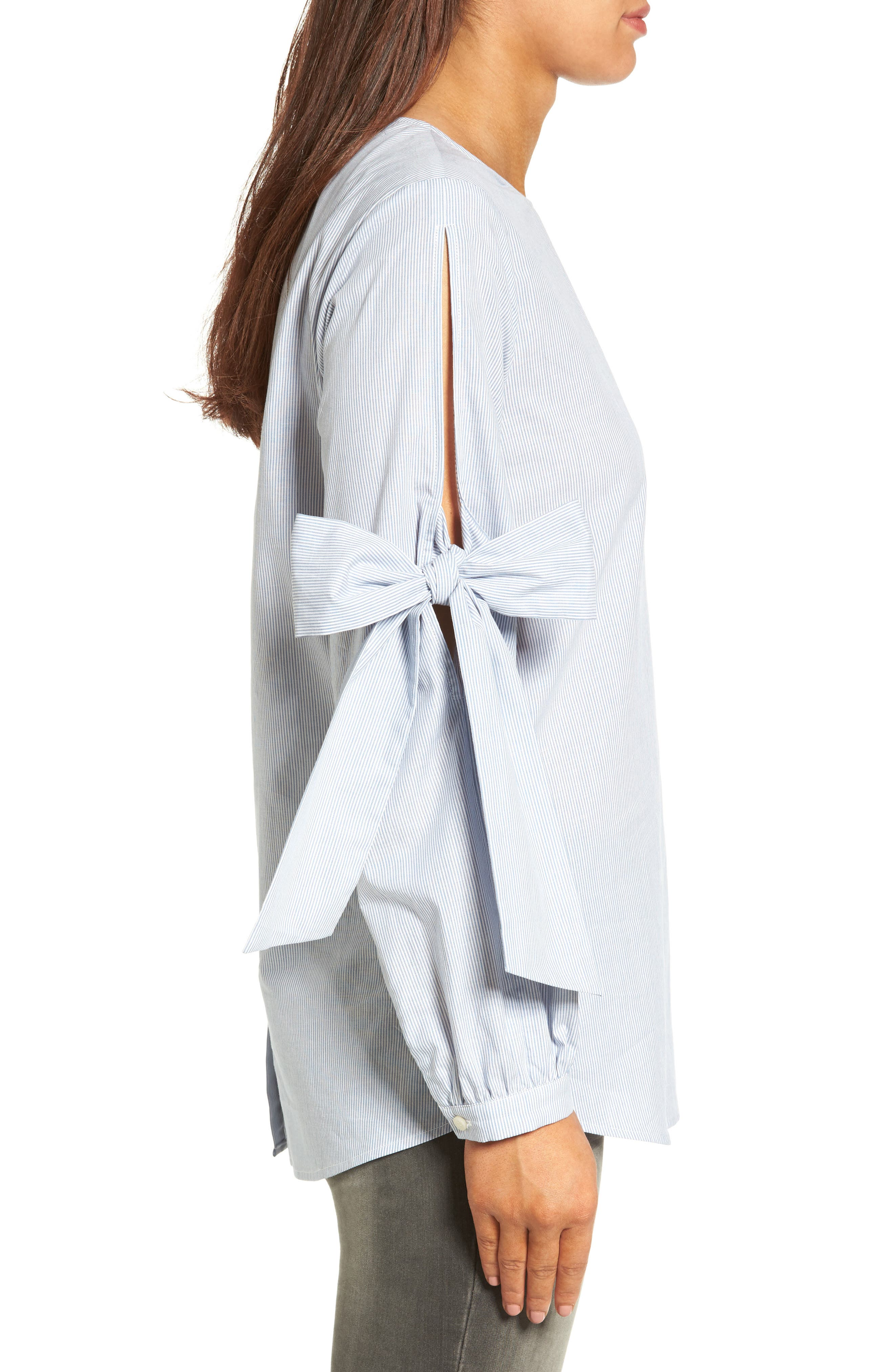 Alternate Image 3  - Pleione Tie Sleeve Poplin Blouse (Regular & Petite)