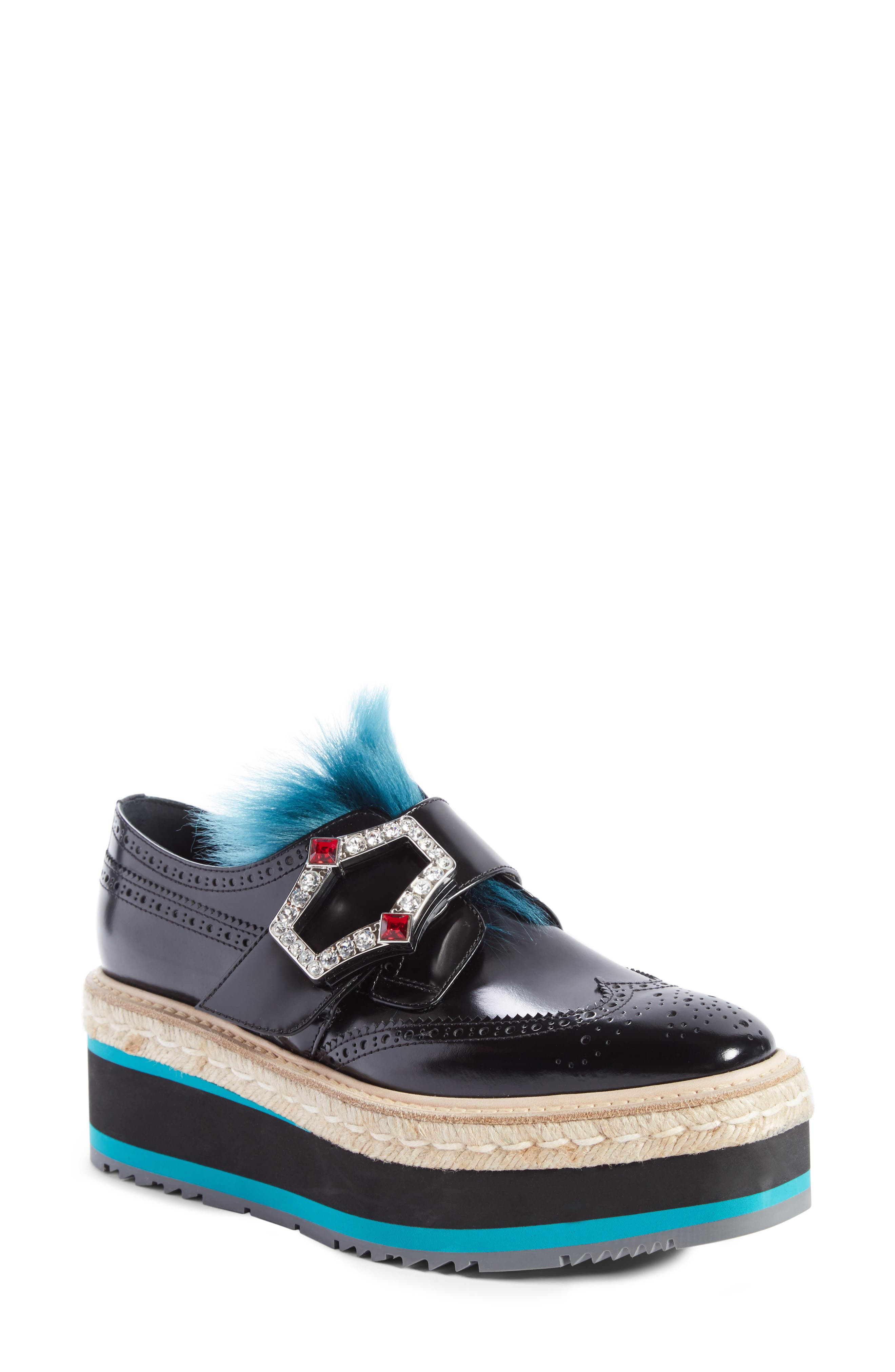 Prada Platform Oxford with Genuine Shearling Trim (Women)