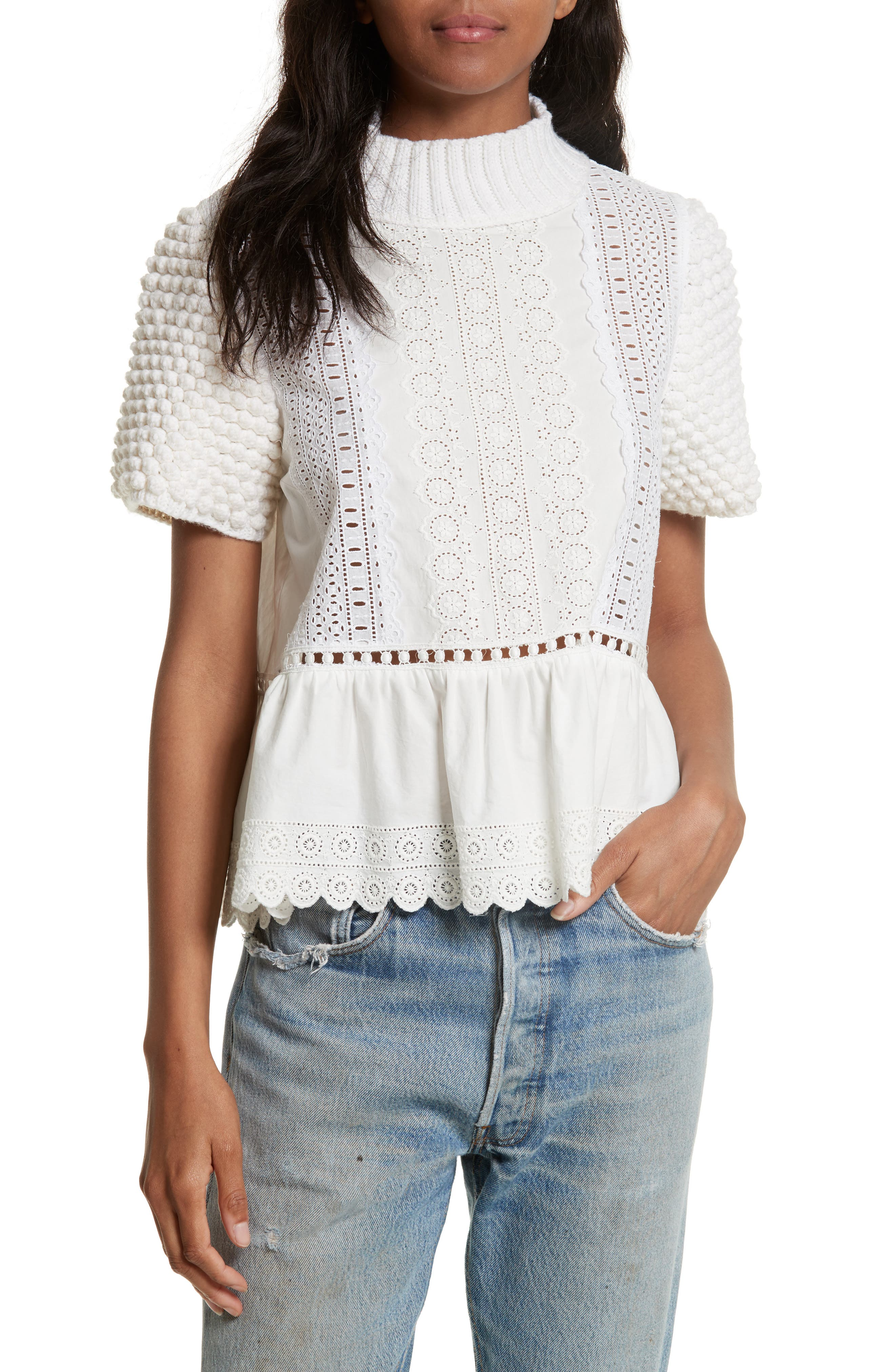 Sea Cotton Eyelet Sweater Top
