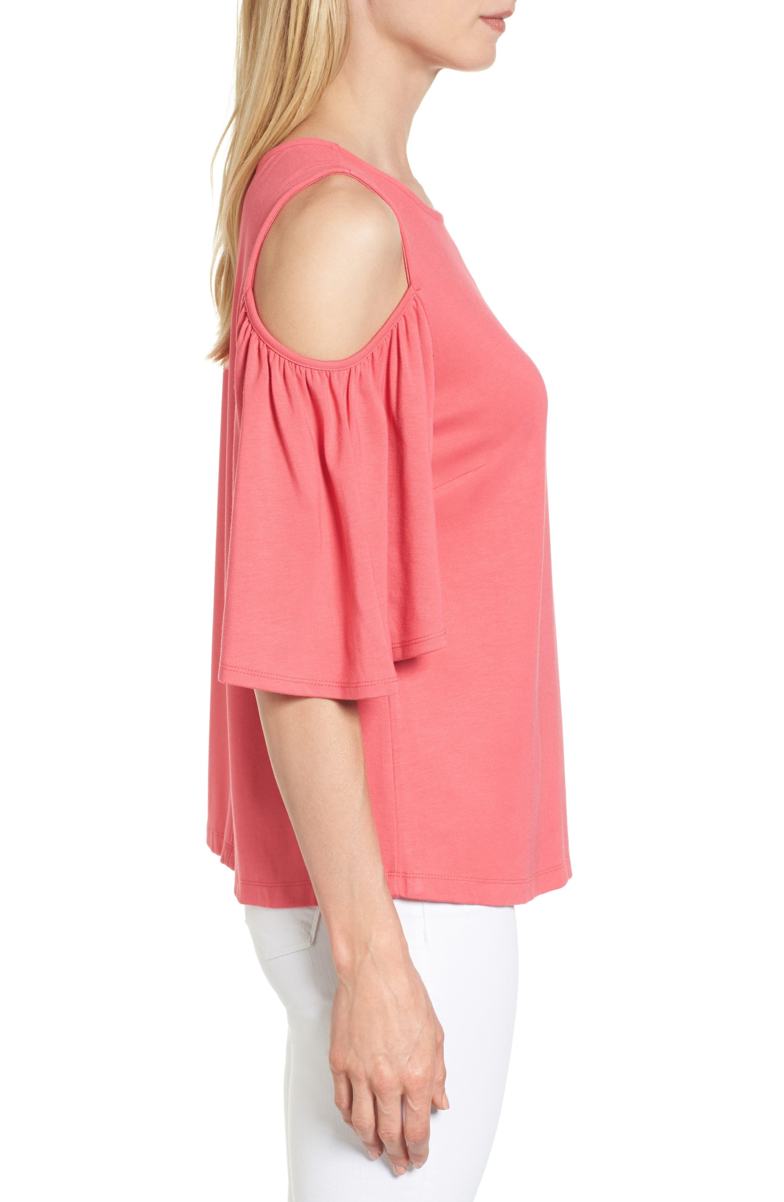 Alternate Image 3  - Halogen® Knit Cold Shoulder Top (Regular & Petite)