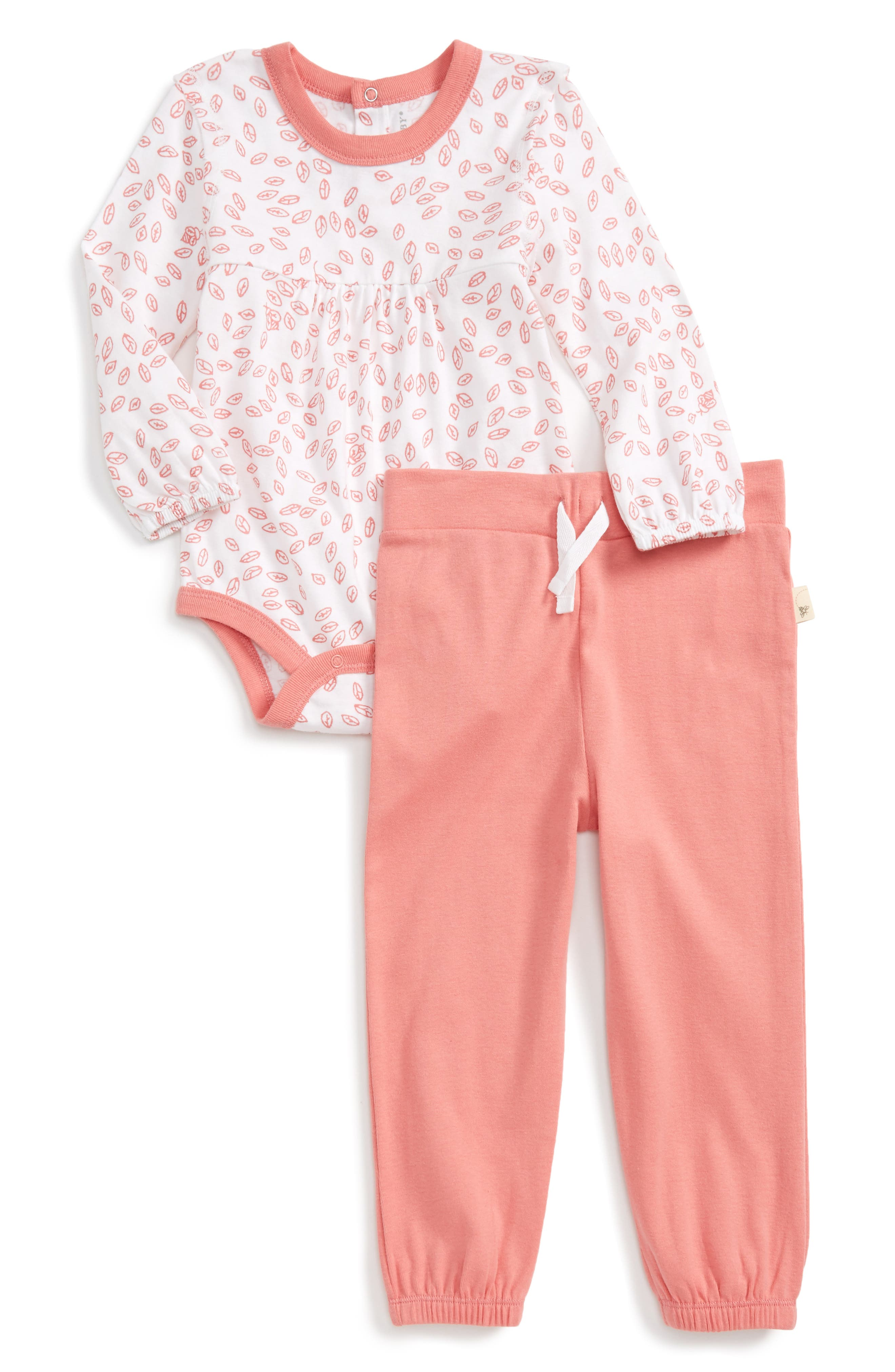 Burt's Bees Baby Falling Leaves Organic Cotton Bodysuit & Pants Set (Baby Girls)