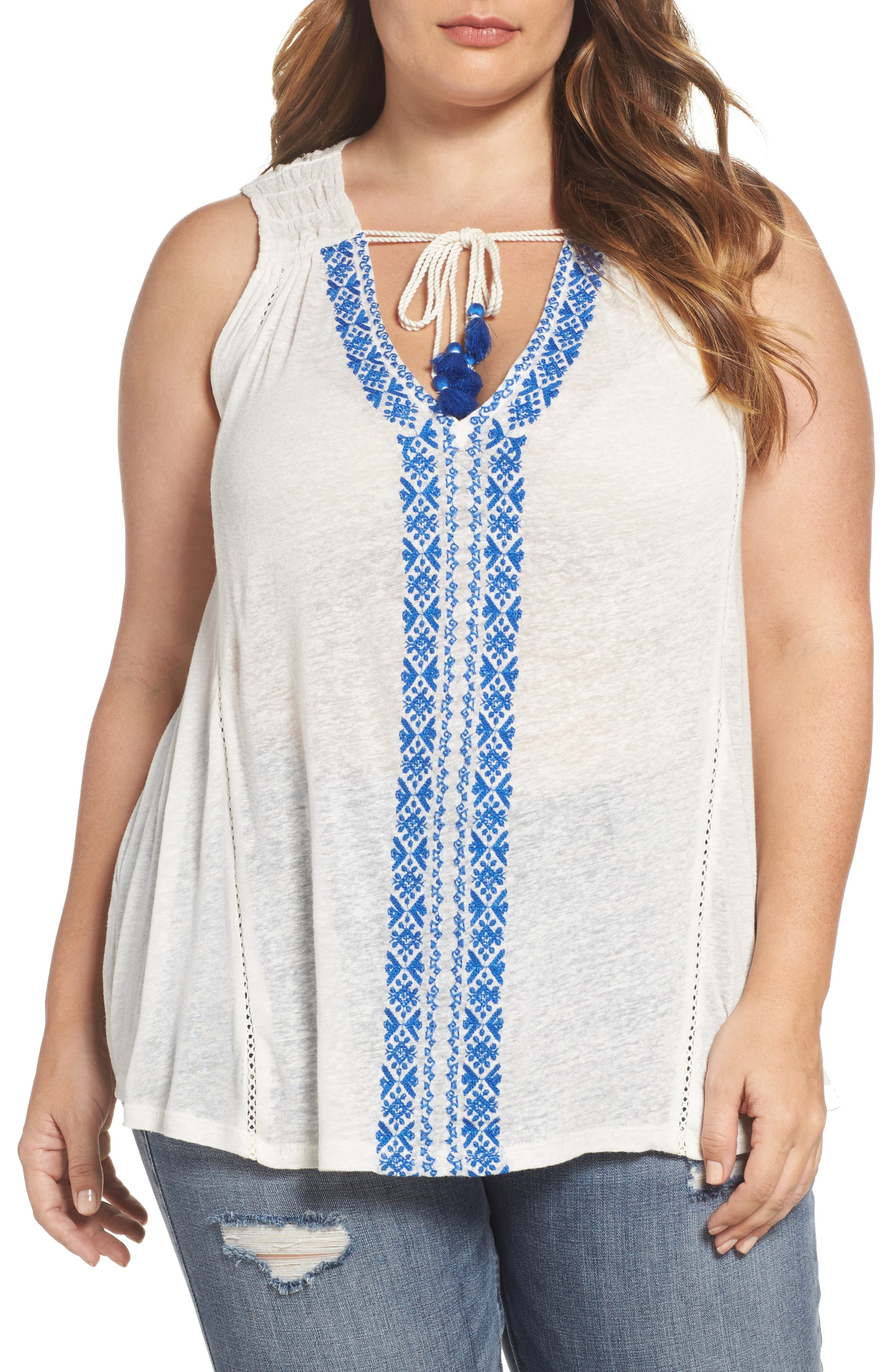Lucky Brand Embroidered Tie Neck Top (Plus Size)