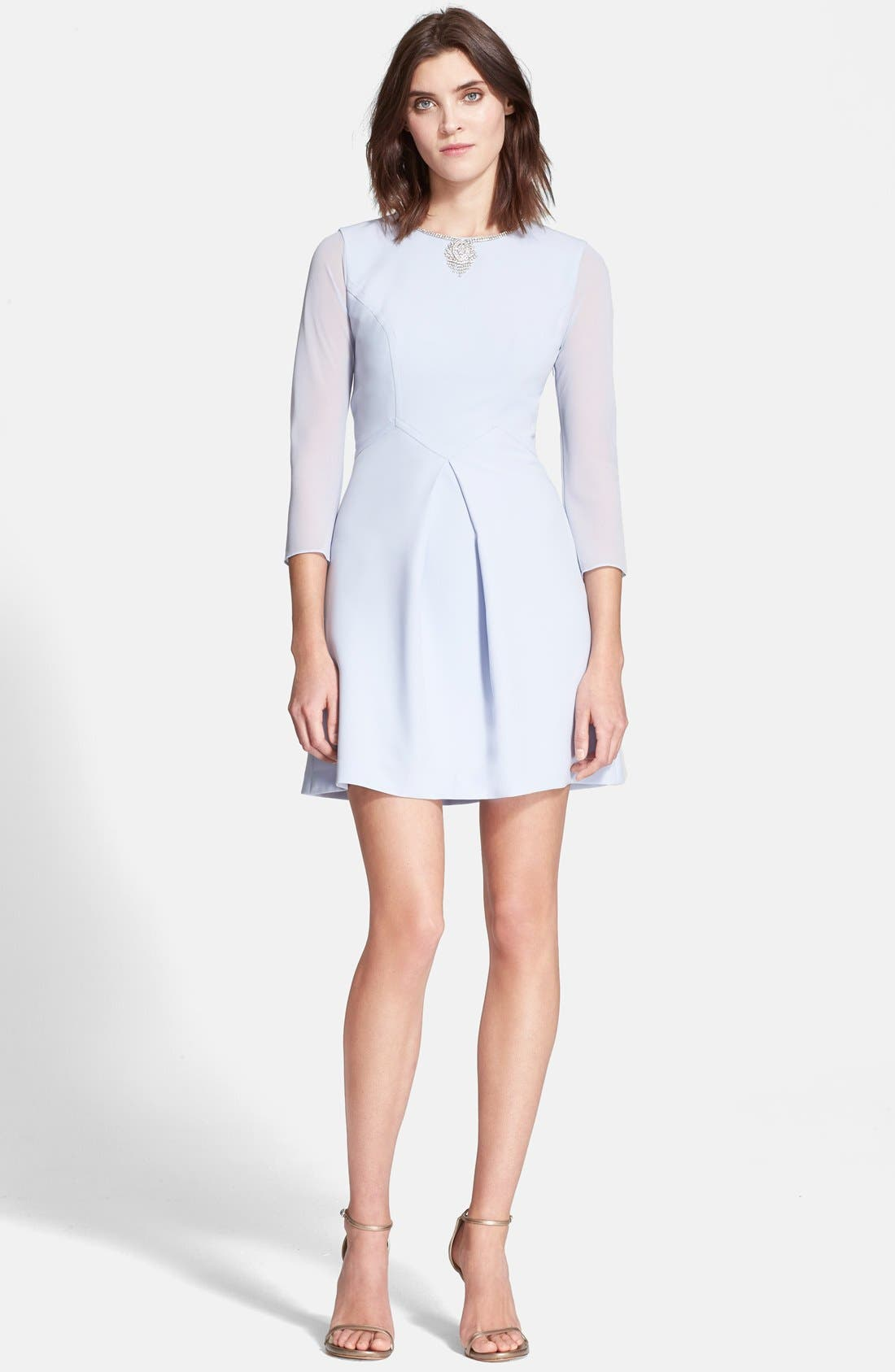 Main Image - Ted Baker London 'Haswell' Embellished Three Quarter Sleeve A-Line Dress
