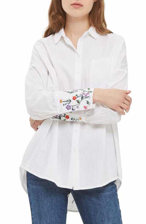 Topshop Falling Floral Embroidered Shirt