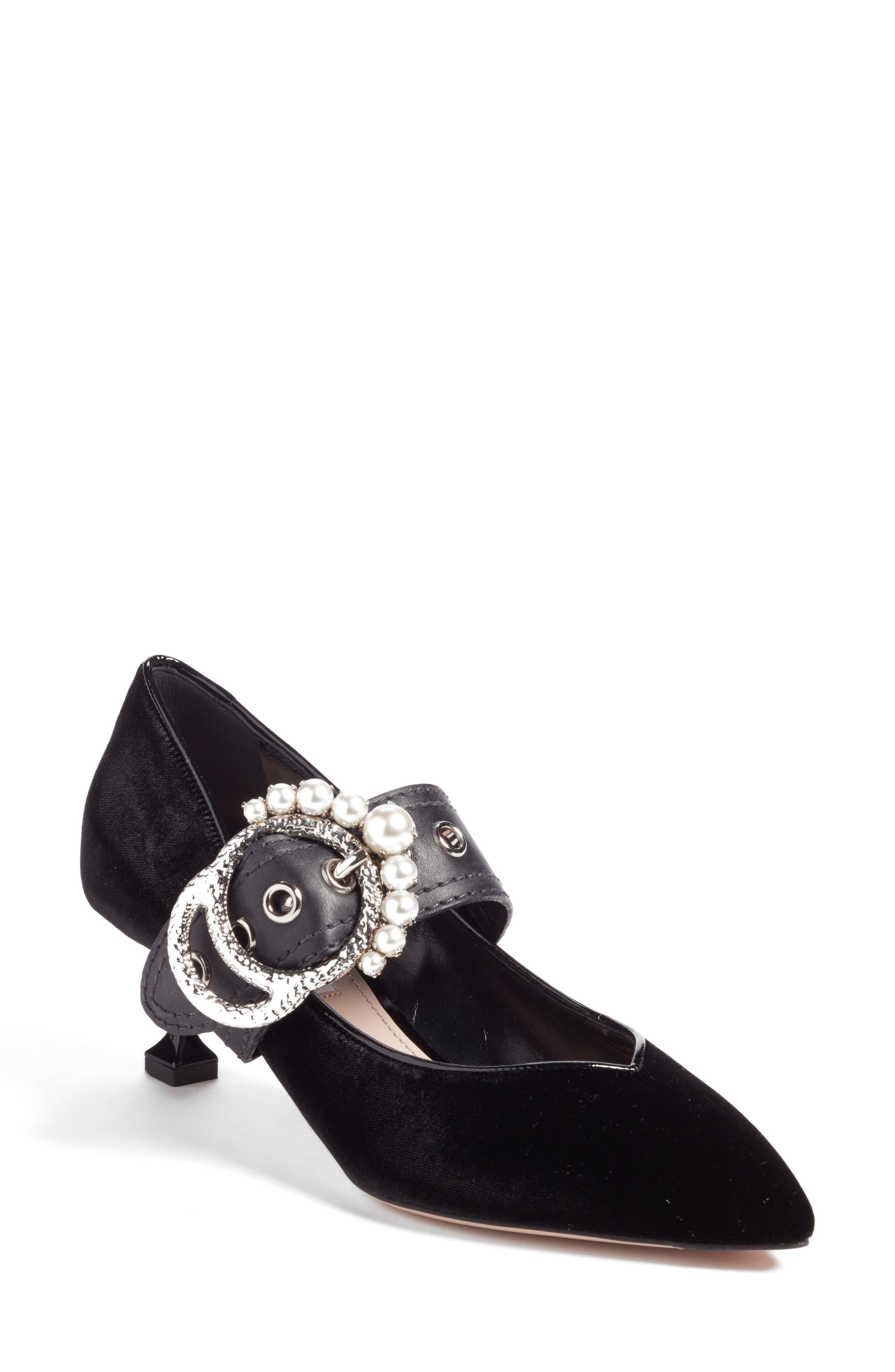 Miu Miu Embellished Buckle Pointy Toe Pump (Women)