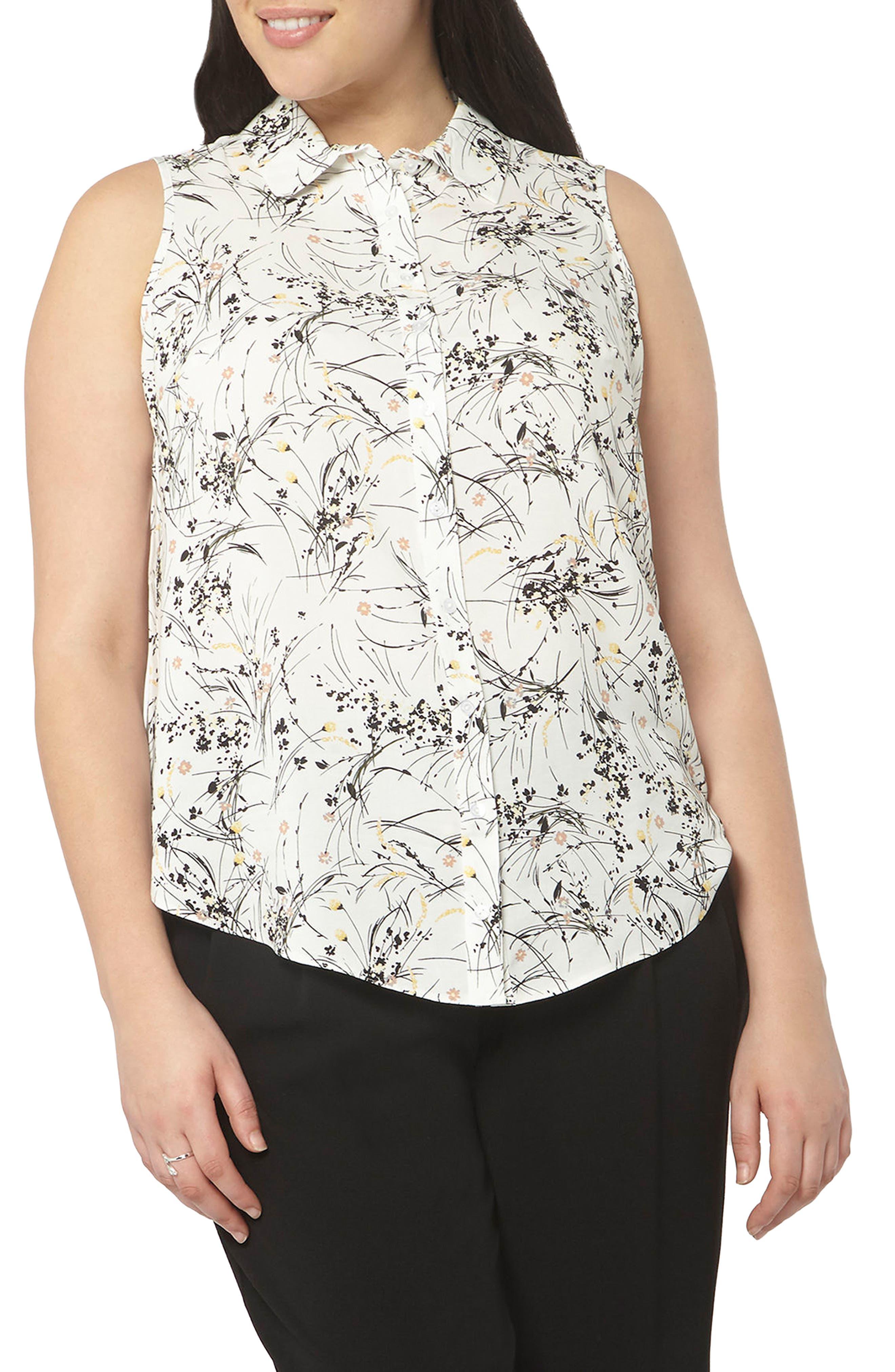 Evans Floral Print Sleeveless Shirt (Plus Size)