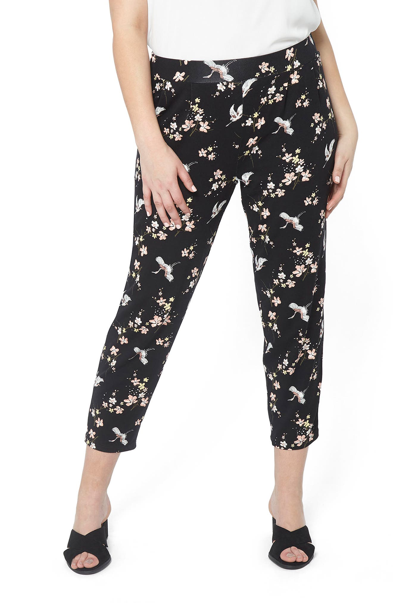 Evans Bird Print Taper Crop Trousers (Plus Size)
