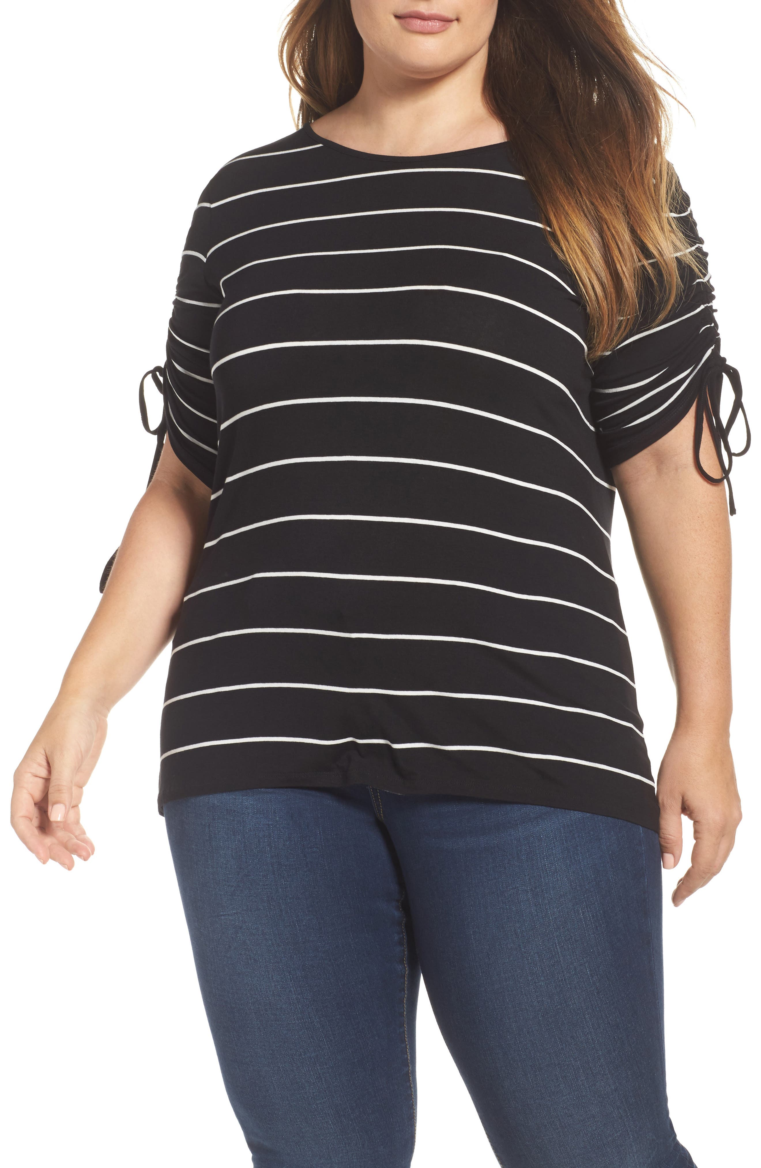Vince Camuto Drawstring Sleeve Stripe Top (Plus Size)