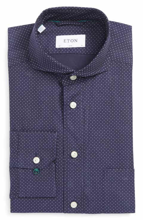 Straight Collar Extra Trim Fit Dress Shirts For Men: straight collar dress shirt