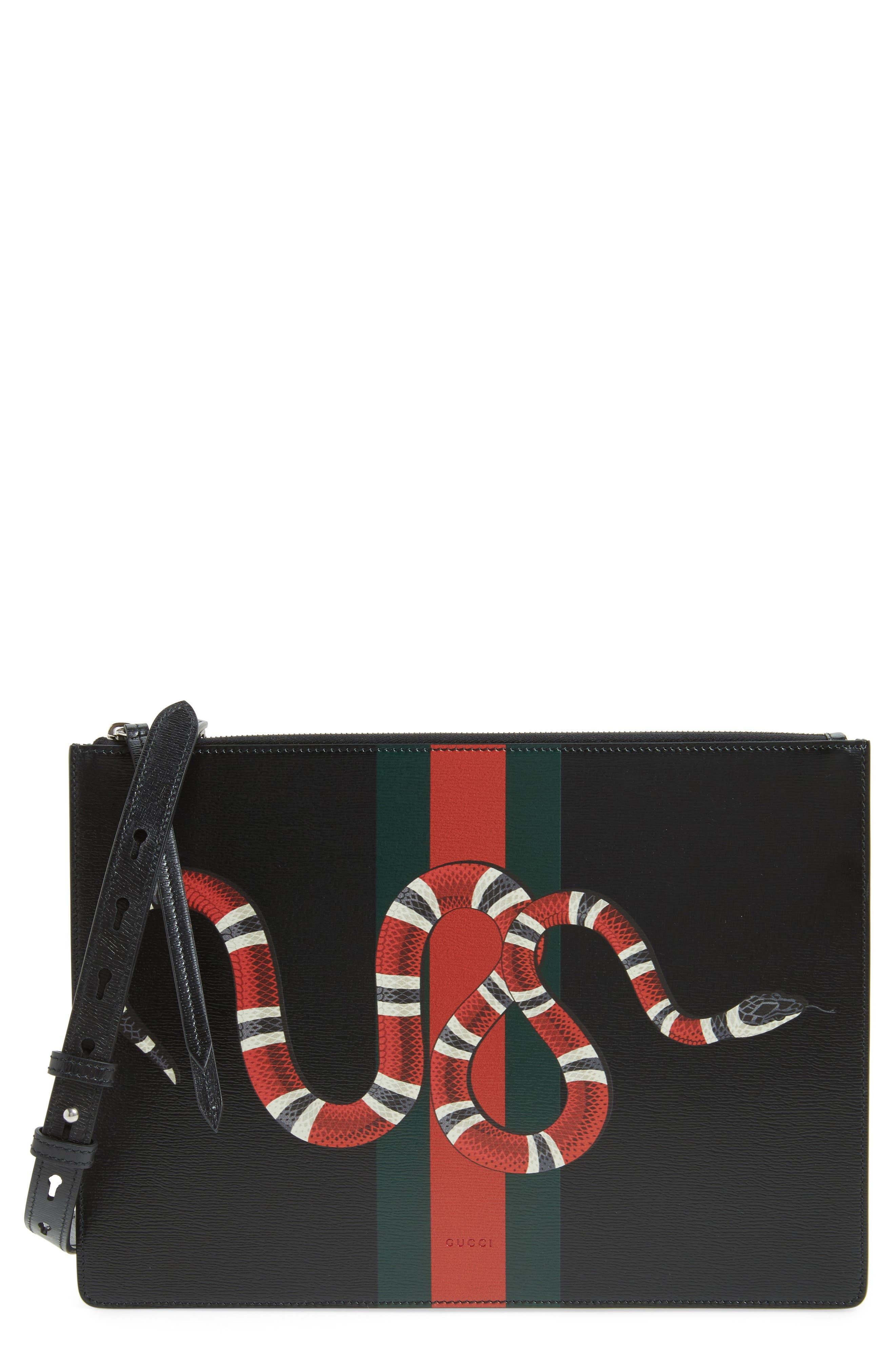 Gucci Snake Band Leather Messenger Bag