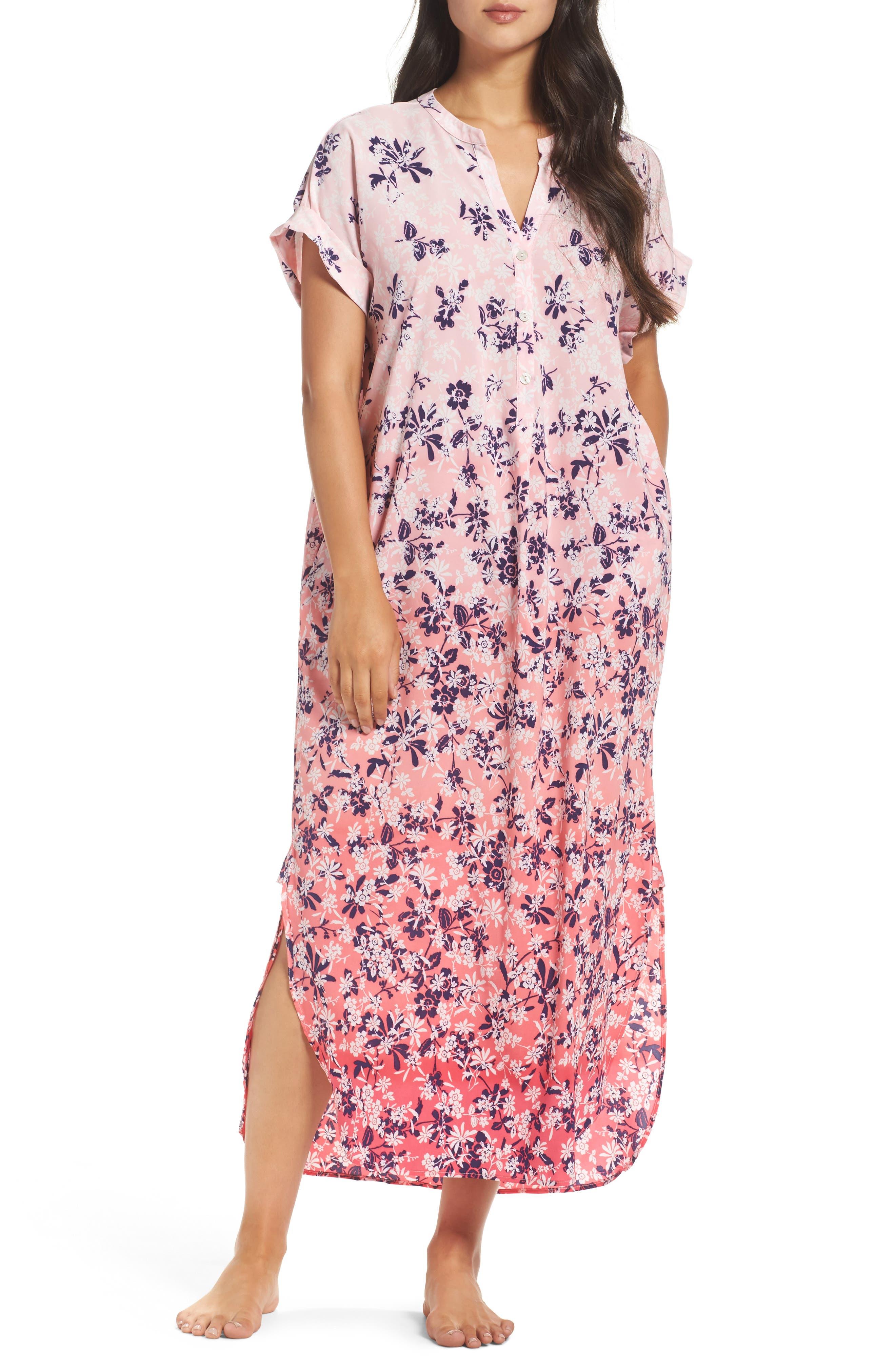 Oscar de la Renta Sleepwear Floral Print Caftan