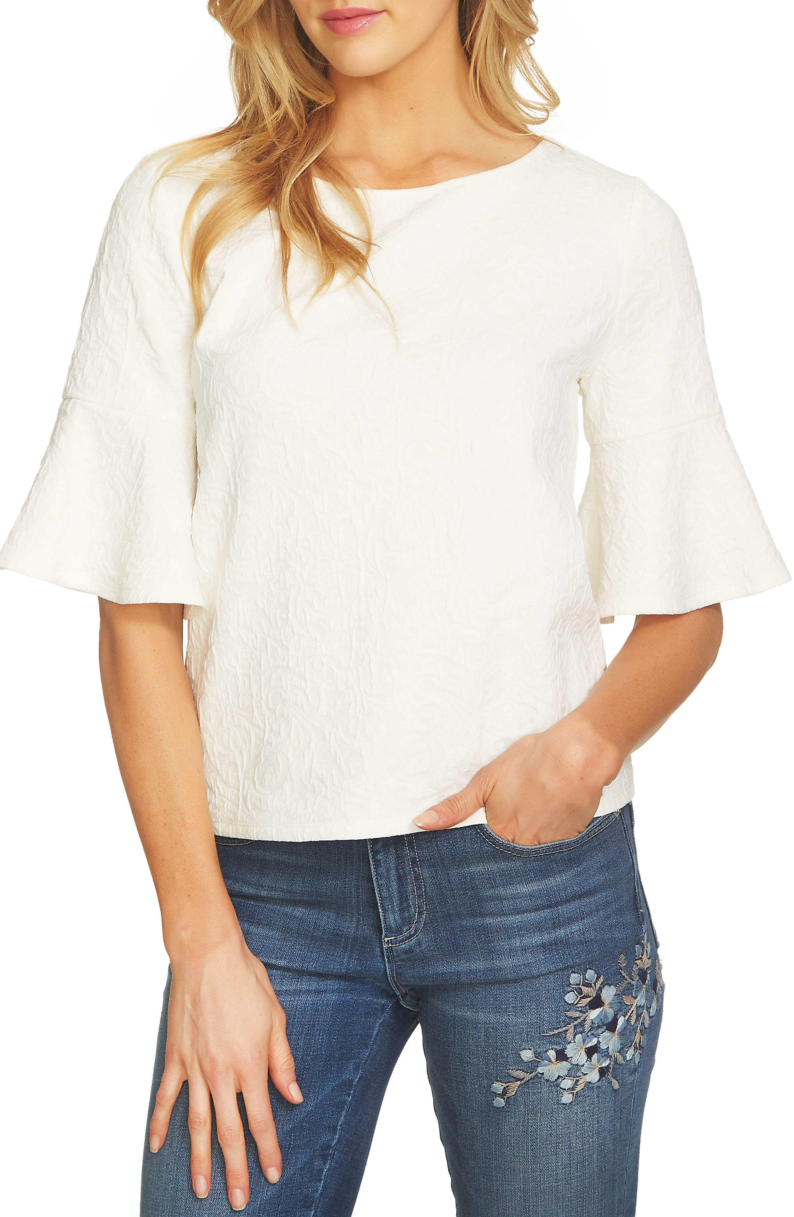 CeCe Bell Sleeve Paisley Jacquard Top