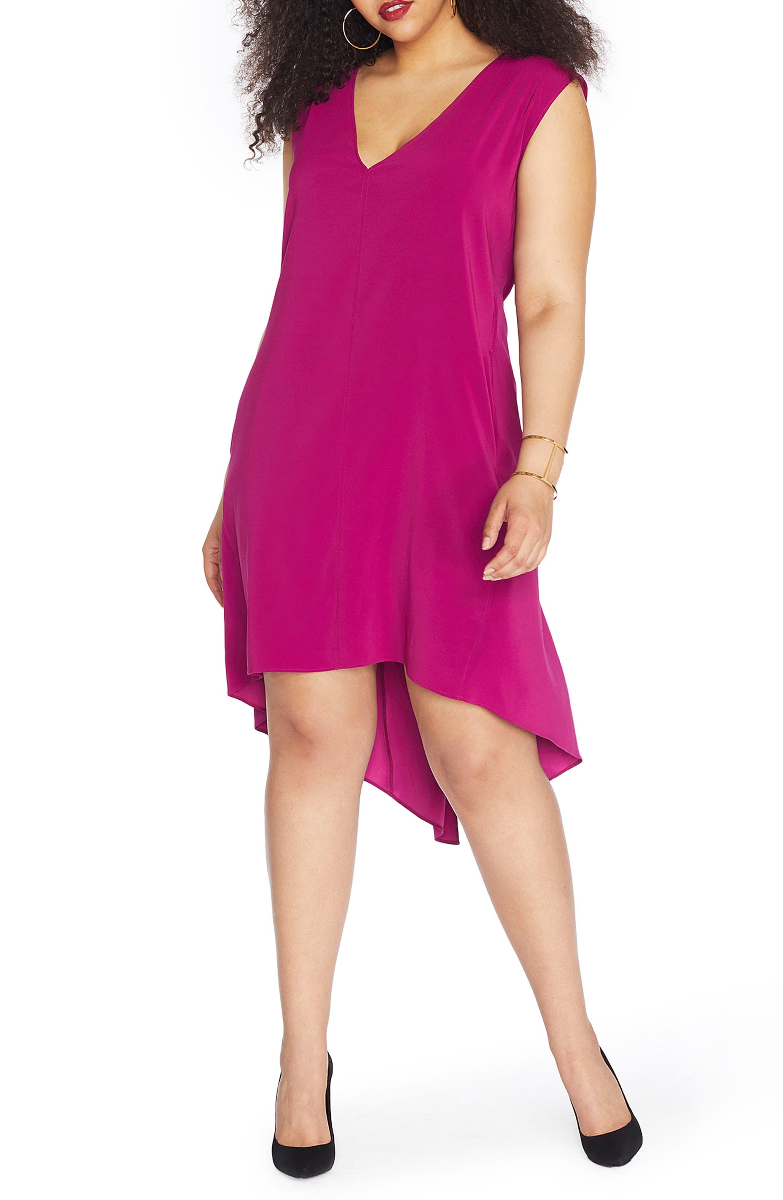 REBEL WILSON X ANGELS Slit High/Low Shift Dress (Plus Size)