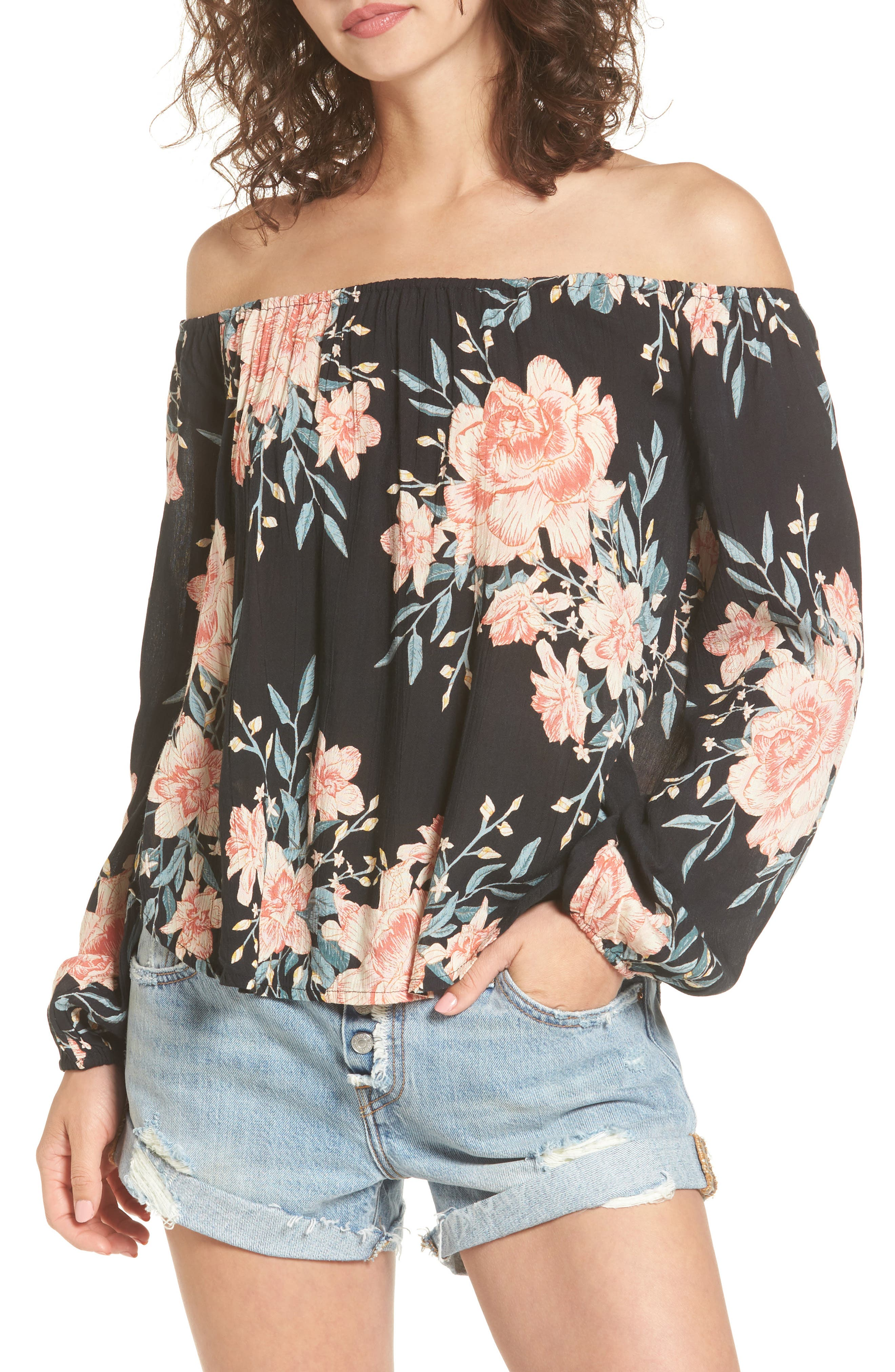 Billabong Mi Amore Print Off the Shoulder Top