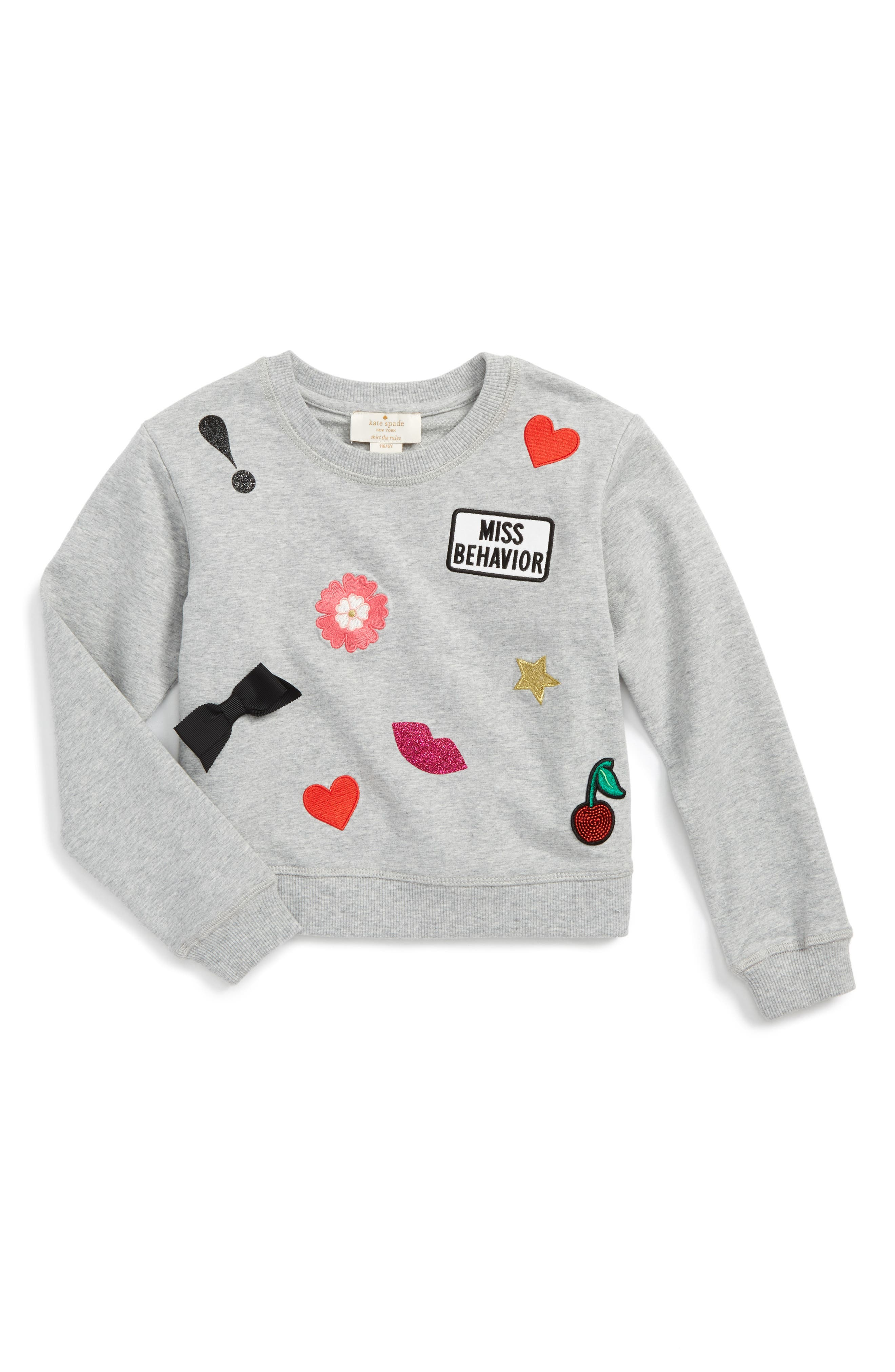 kate spade new york patched sweatshirt (Toddler Girls & Little Girls)