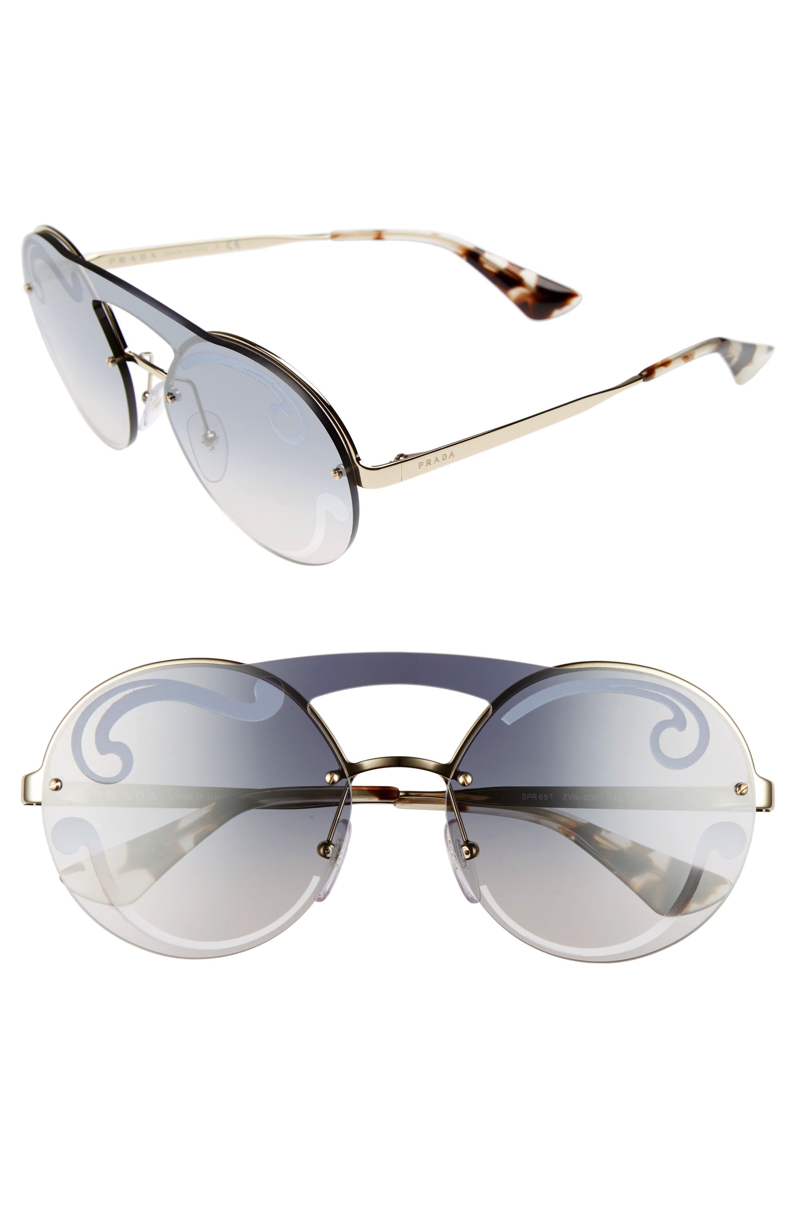 Prada Round Rimless Sunglasses
