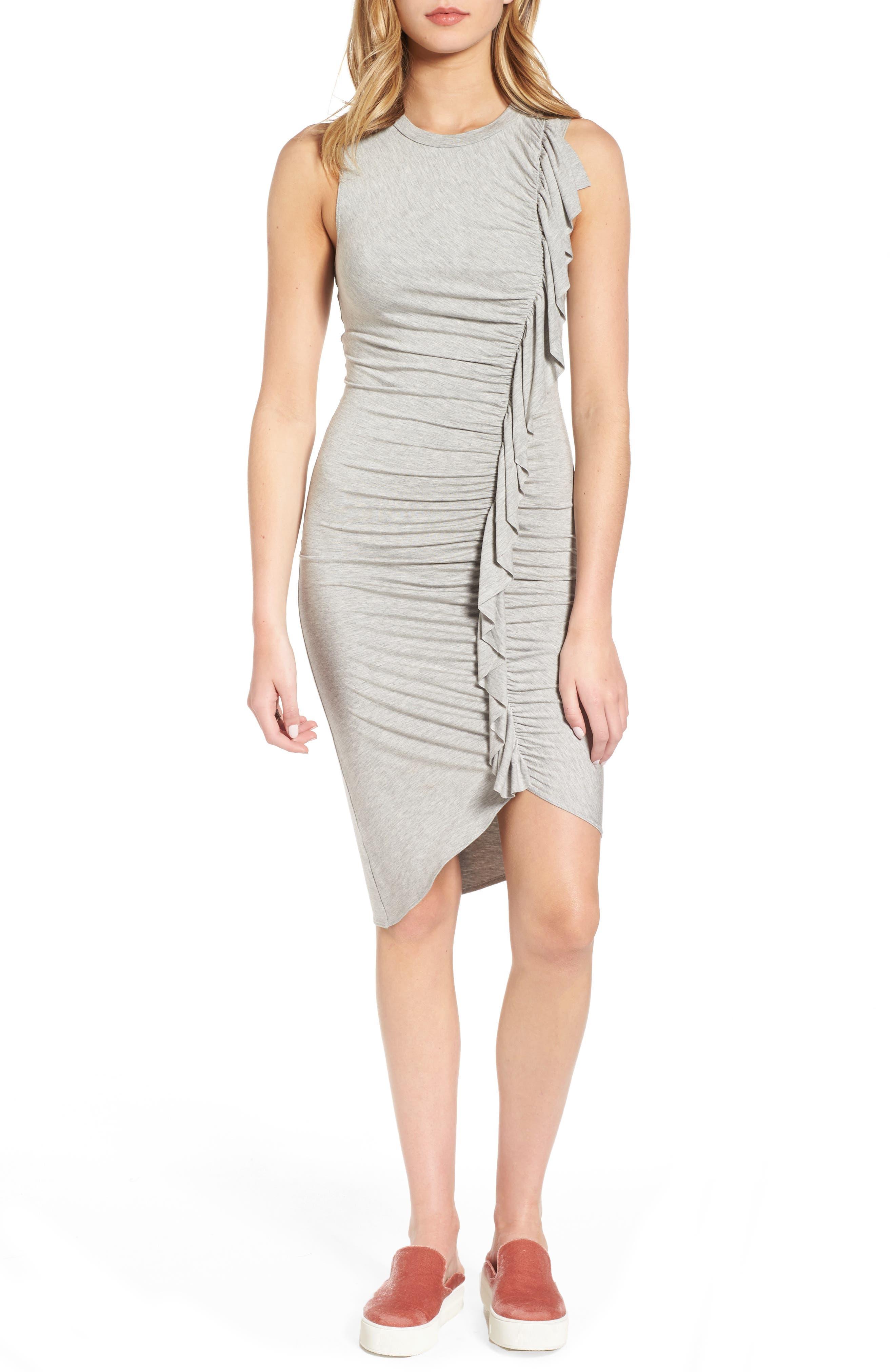 Soprano Asymmetrical Ruffle Body-Con Dress
